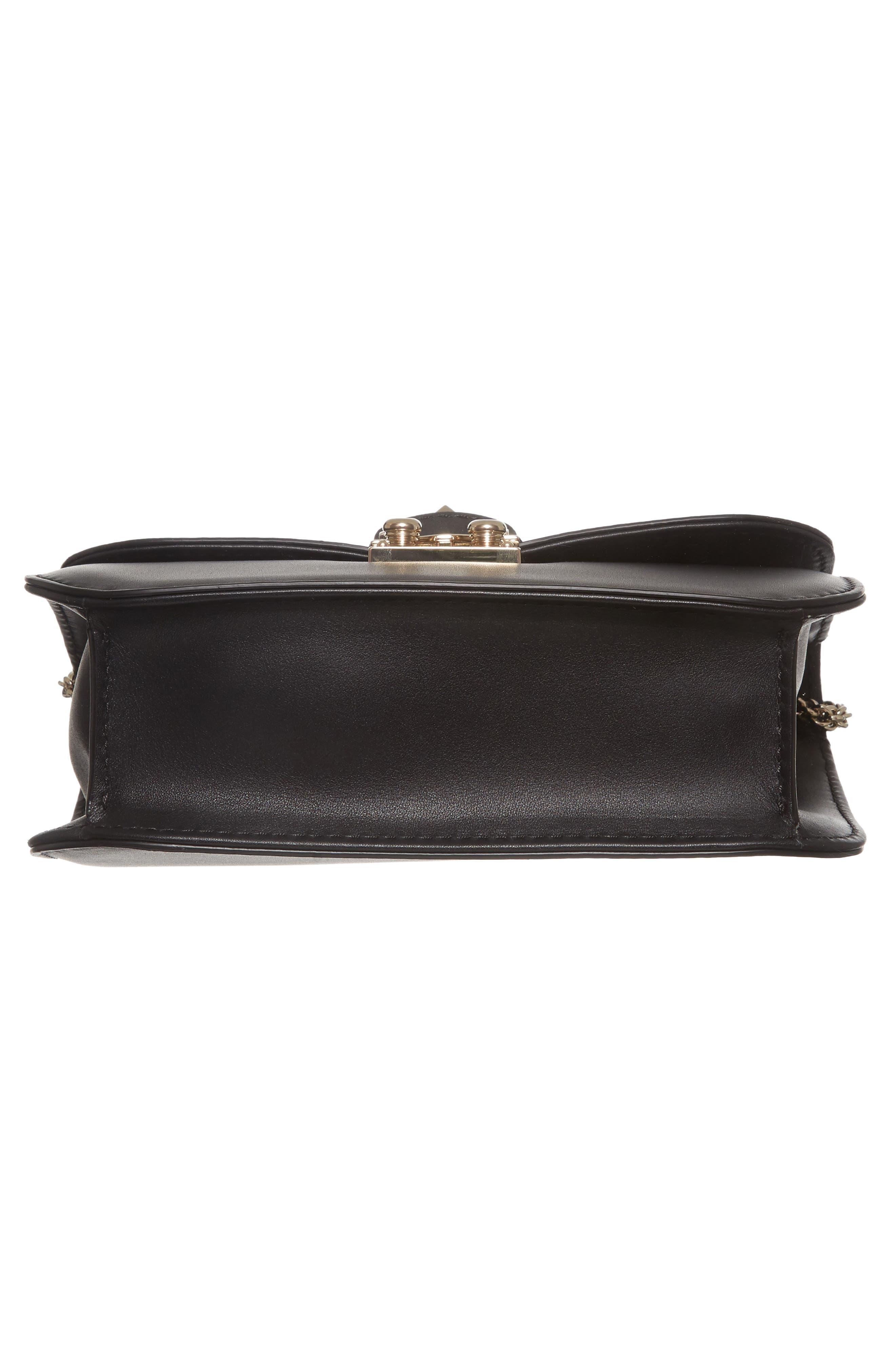 Small Lock Leather Crossbody Bag,                             Alternate thumbnail 6, color,                             NERO