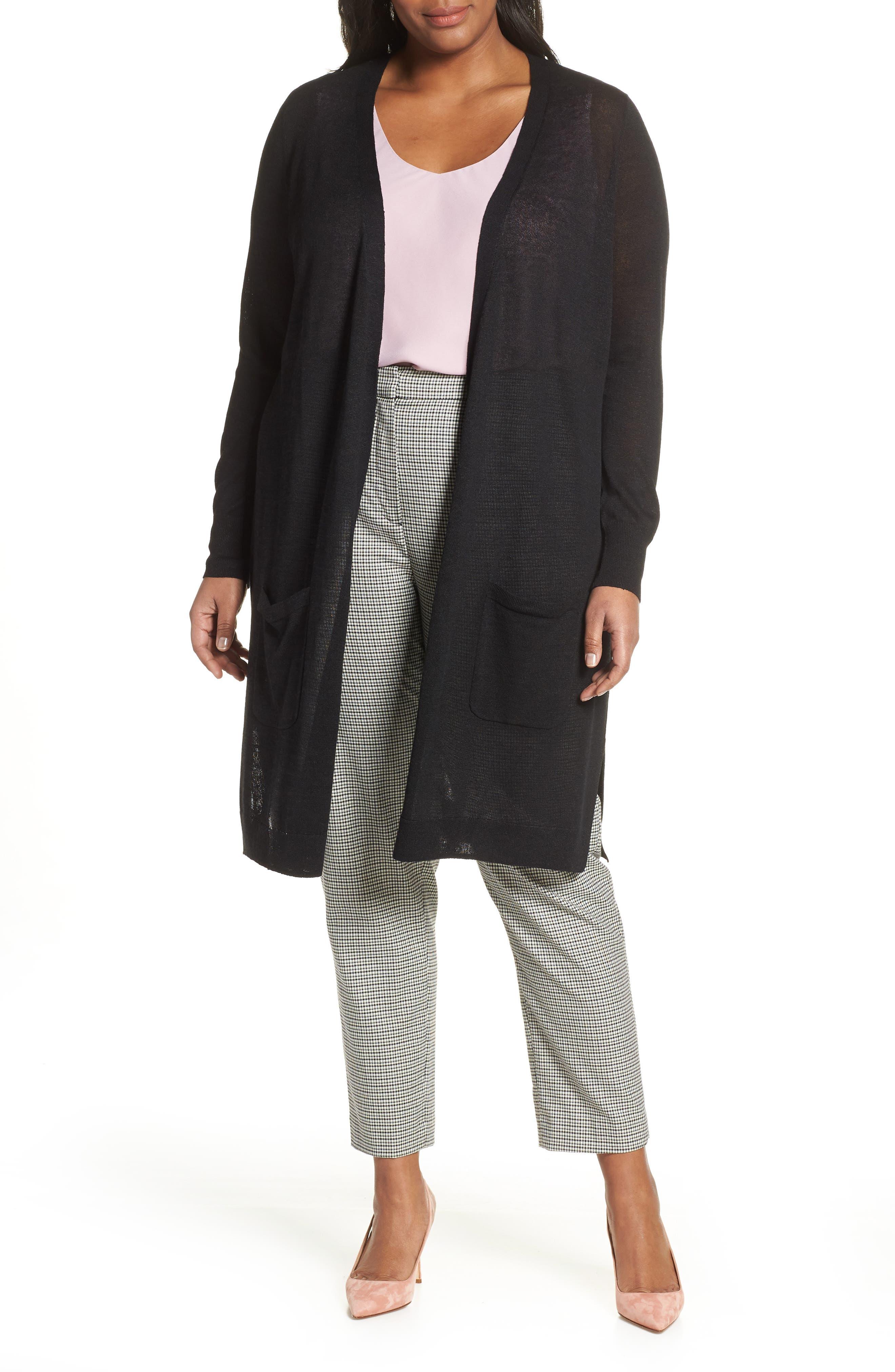 Plus Size Halogen Long Cardigan, Black