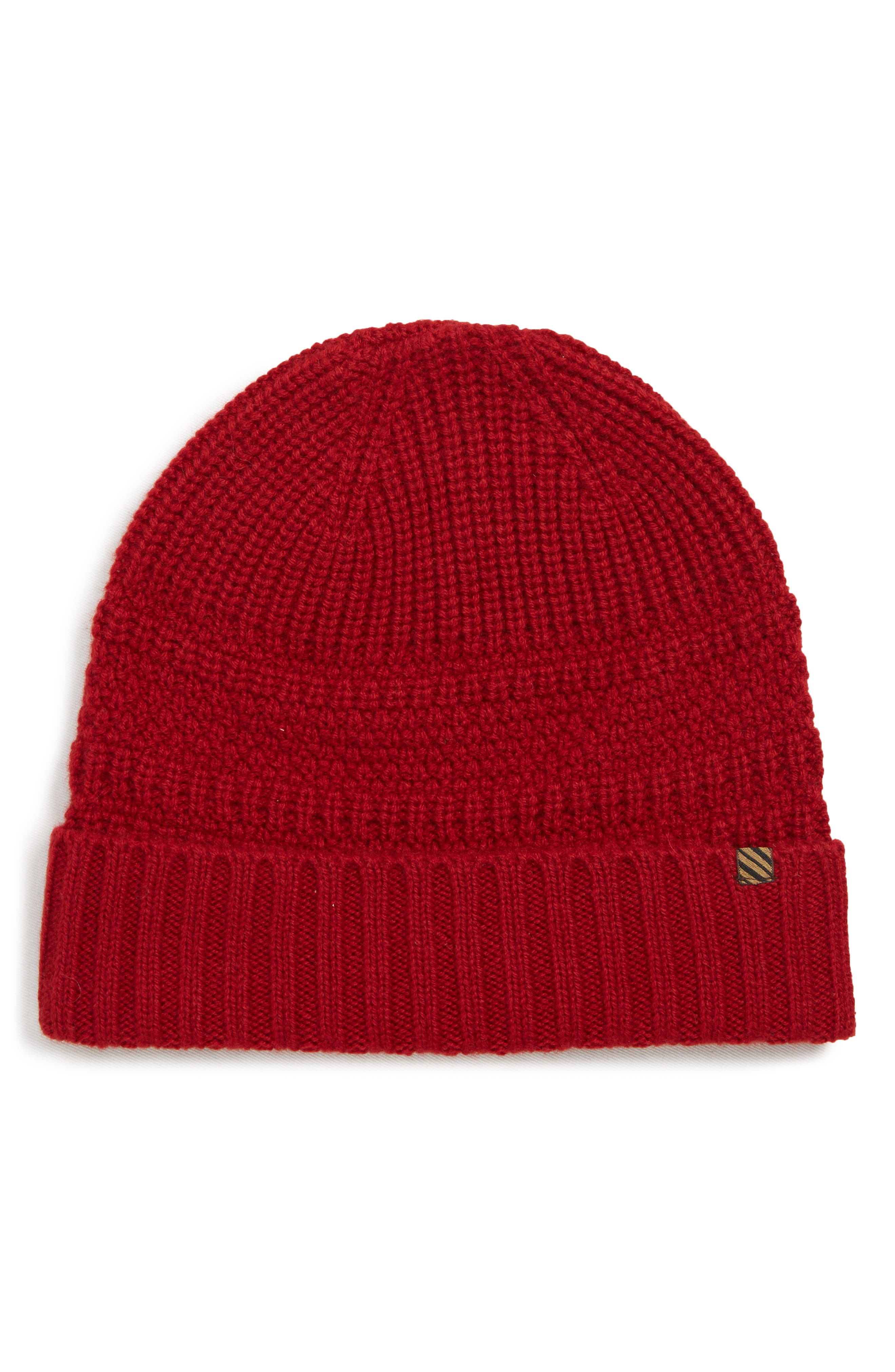 Ribbon Shaker Cashmere Beanie - Red