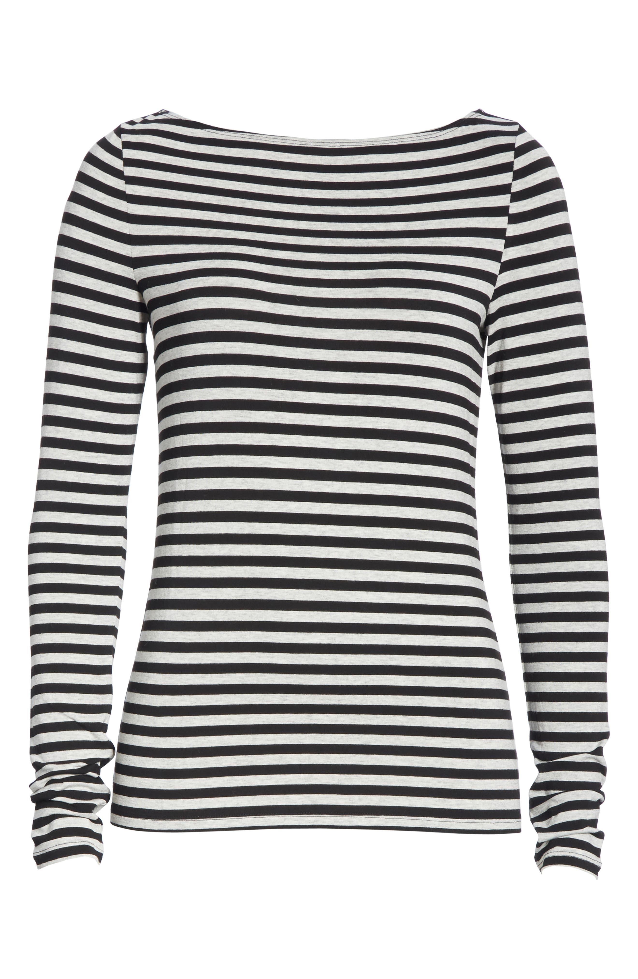 Stripe Bateau Neck Long Sleeve Tee,                             Alternate thumbnail 6, color,                             HEATHER GREY- BLACK STRIPE