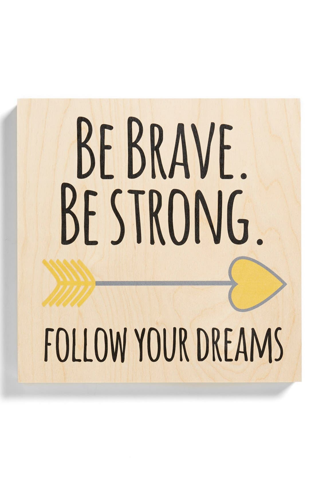 'Brave' Birchwood Wall Art,                             Main thumbnail 1, color,                             700