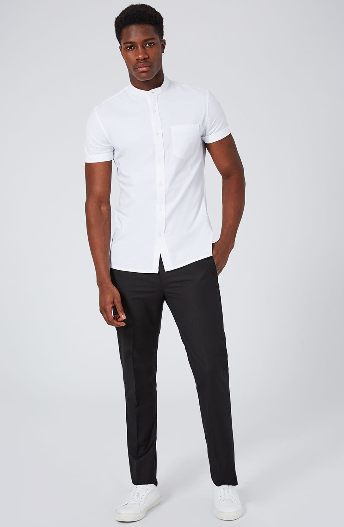 Stand Collar Oxford Shirt,                             Alternate thumbnail 5, color,                             WHITE