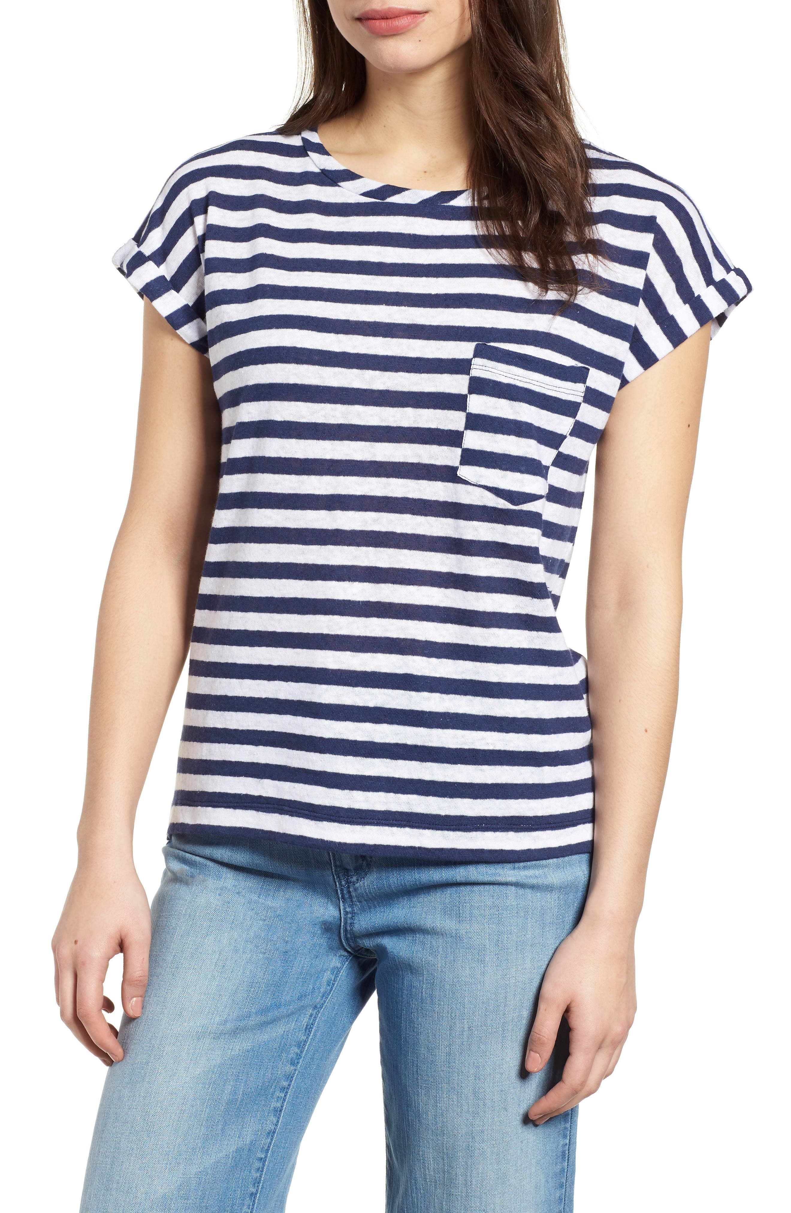 Linen Roll Sleeve Pocket Tee,                         Main,                         color, 476
