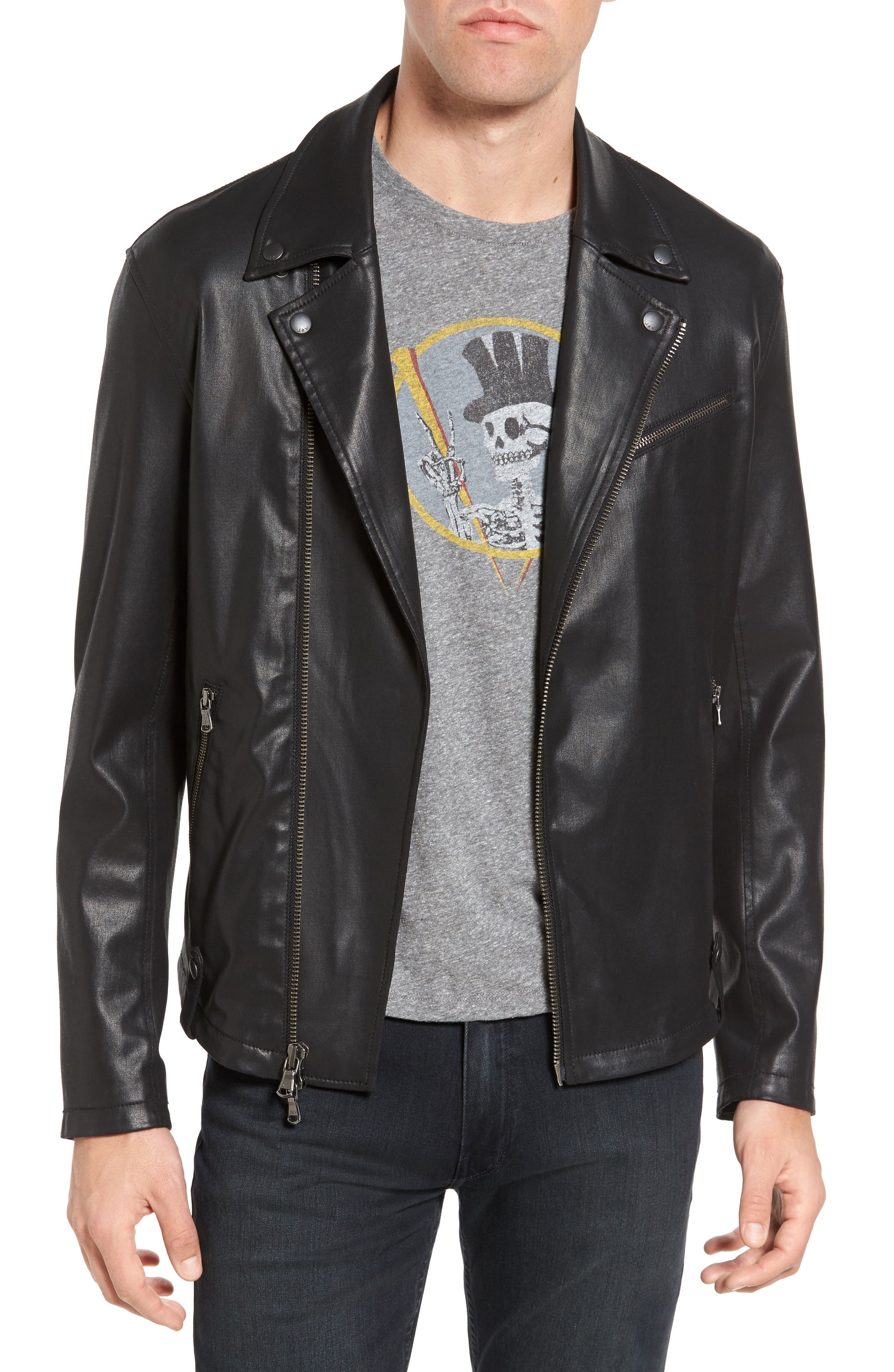 Coated Moto Jacket,                         Main,                         color, 001