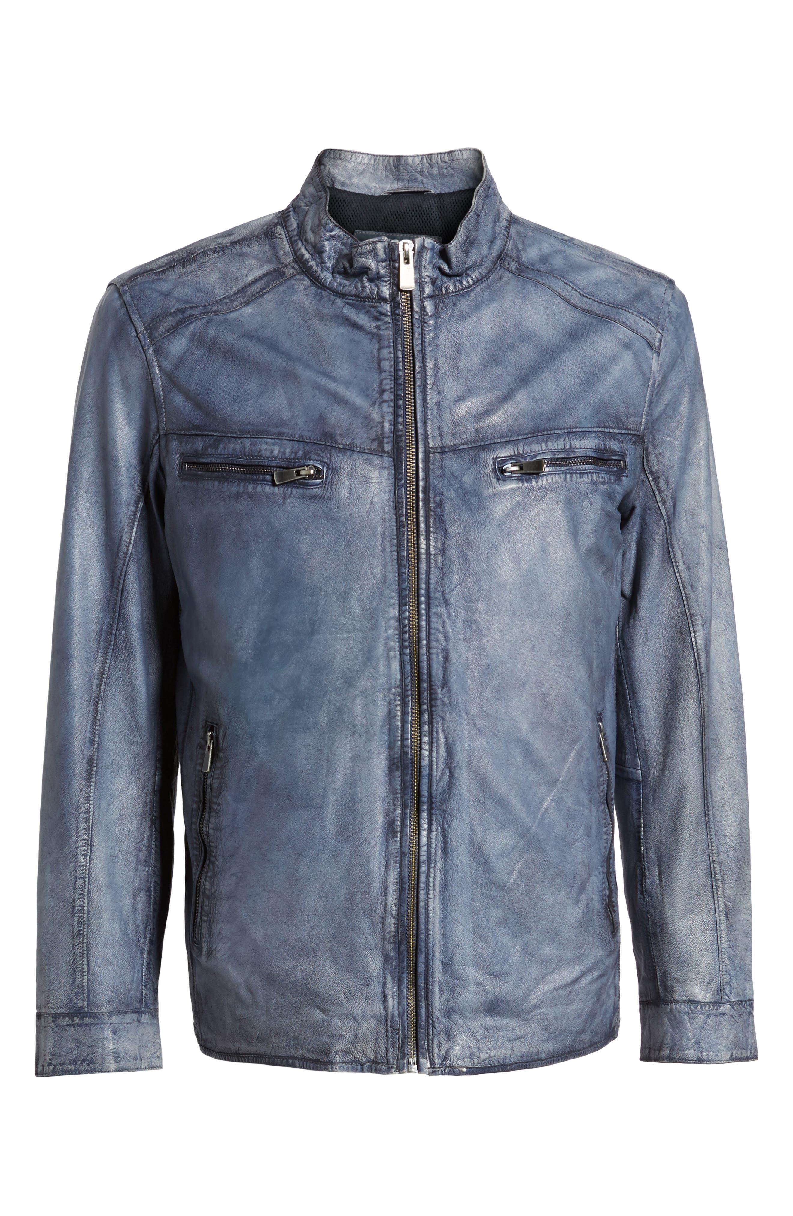 Abraded Washed Leather Jacket,                             Alternate thumbnail 5, color,                             450