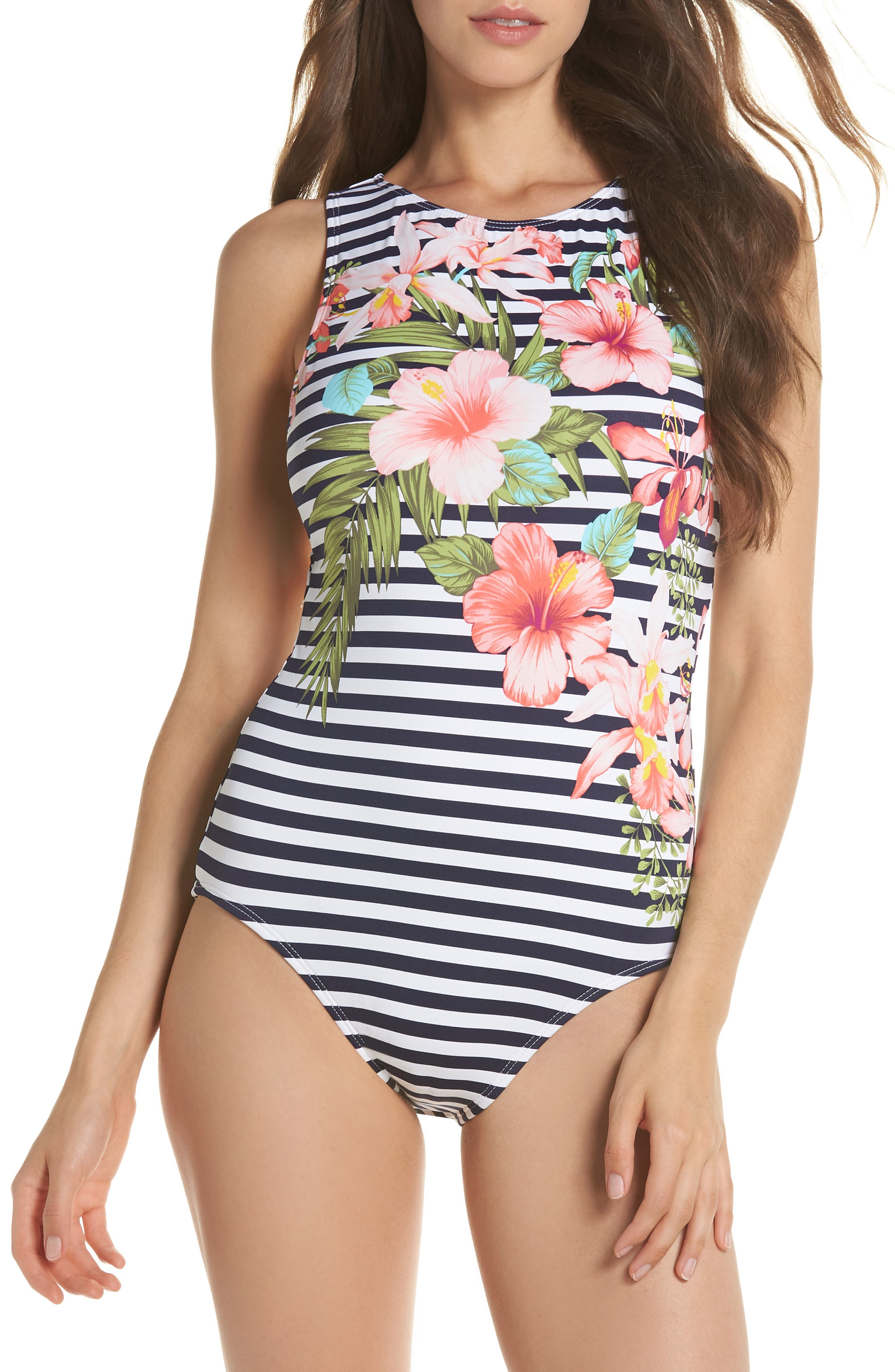 Tommy Bahama High Neck One-Piece Swimsuit, Green