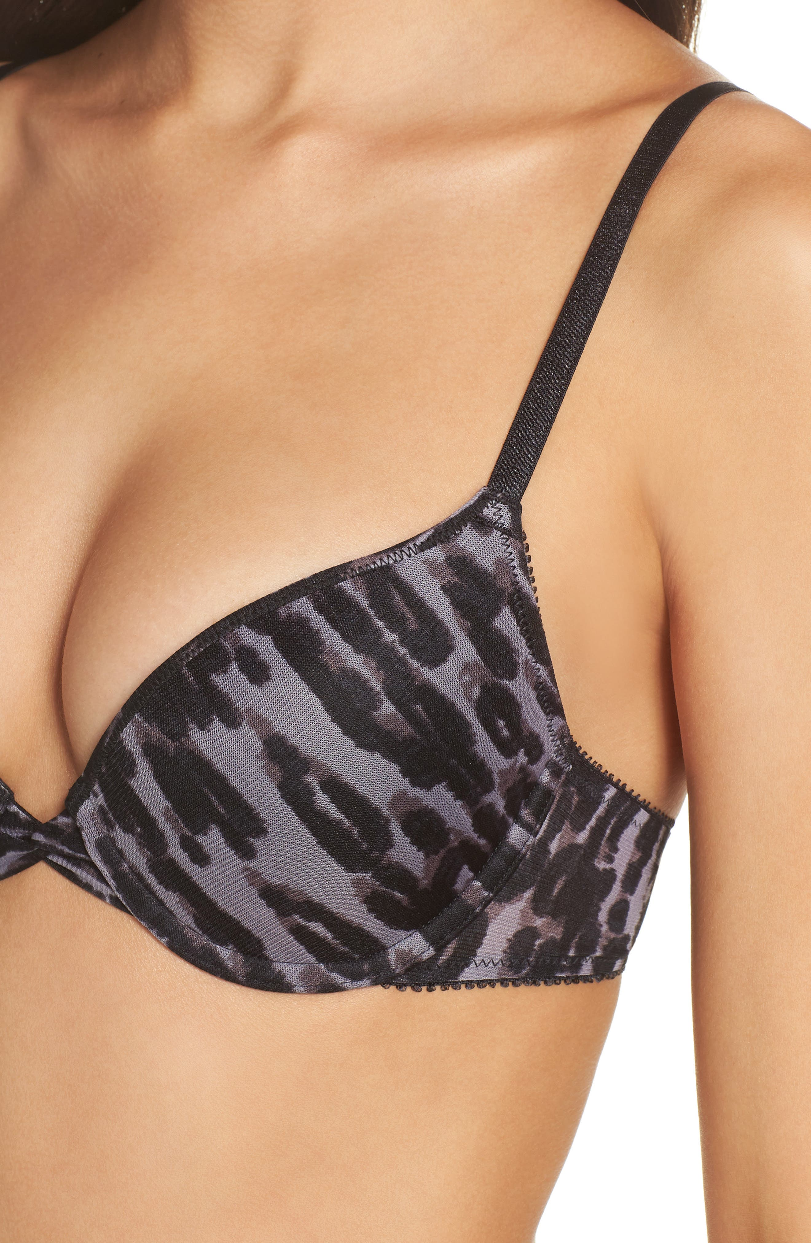 'Triple Mesh Bump It Up' Underwire Push-Up Bra,                             Alternate thumbnail 5, color,                             MIDNIGHT MOOD