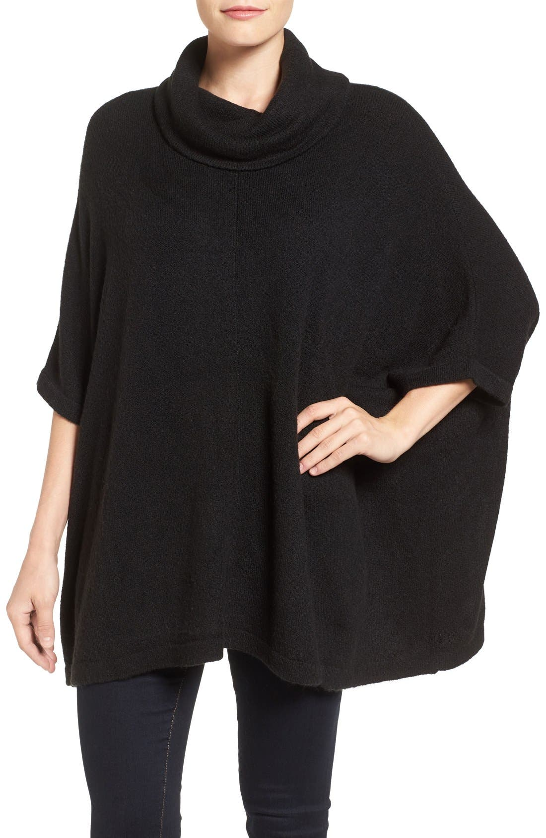 Cowl Neck Sweater Poncho,                         Main,                         color, BLACK