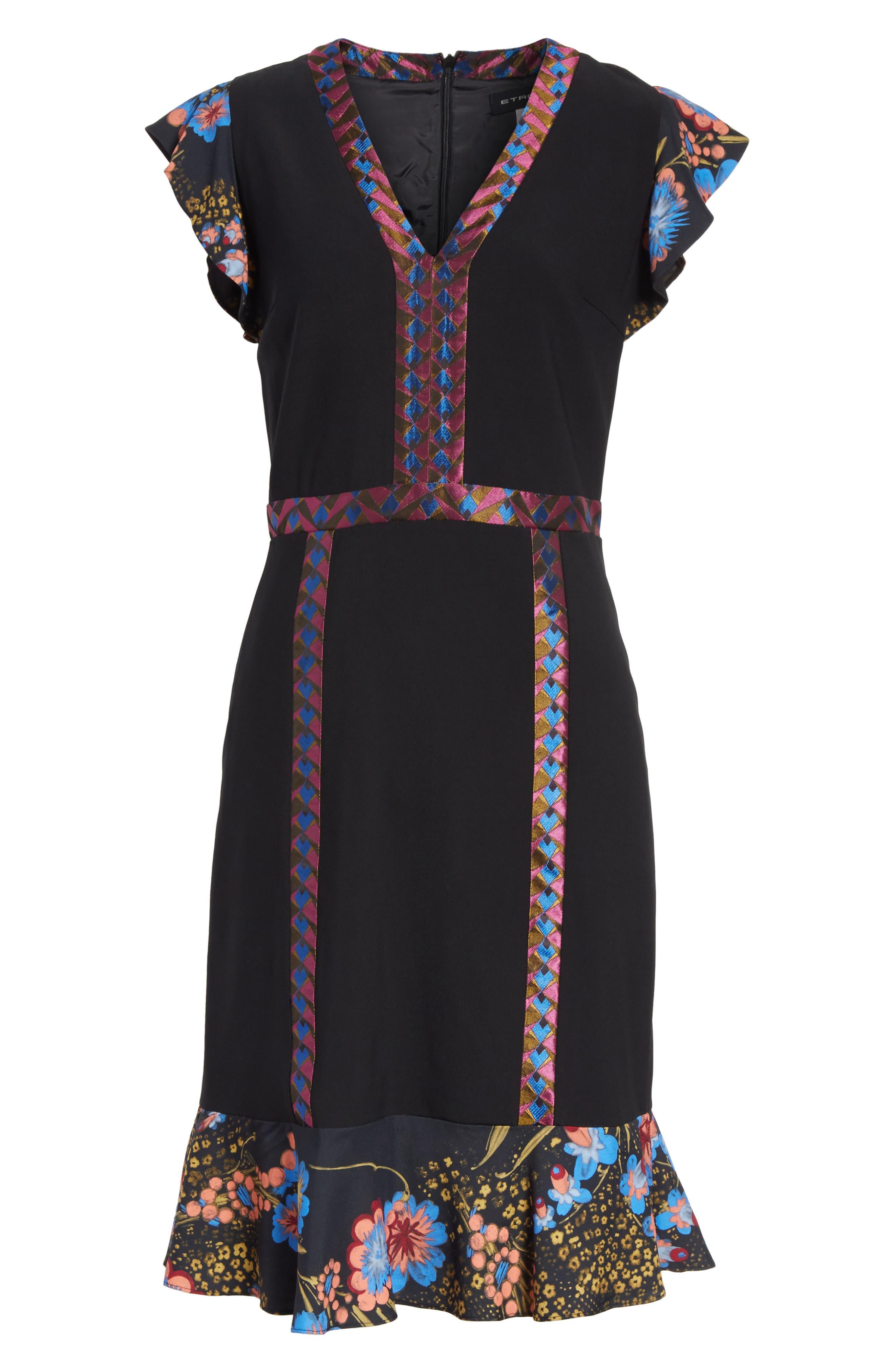 Flutter Sleeve Sheath Dress,                             Alternate thumbnail 6, color,                             001
