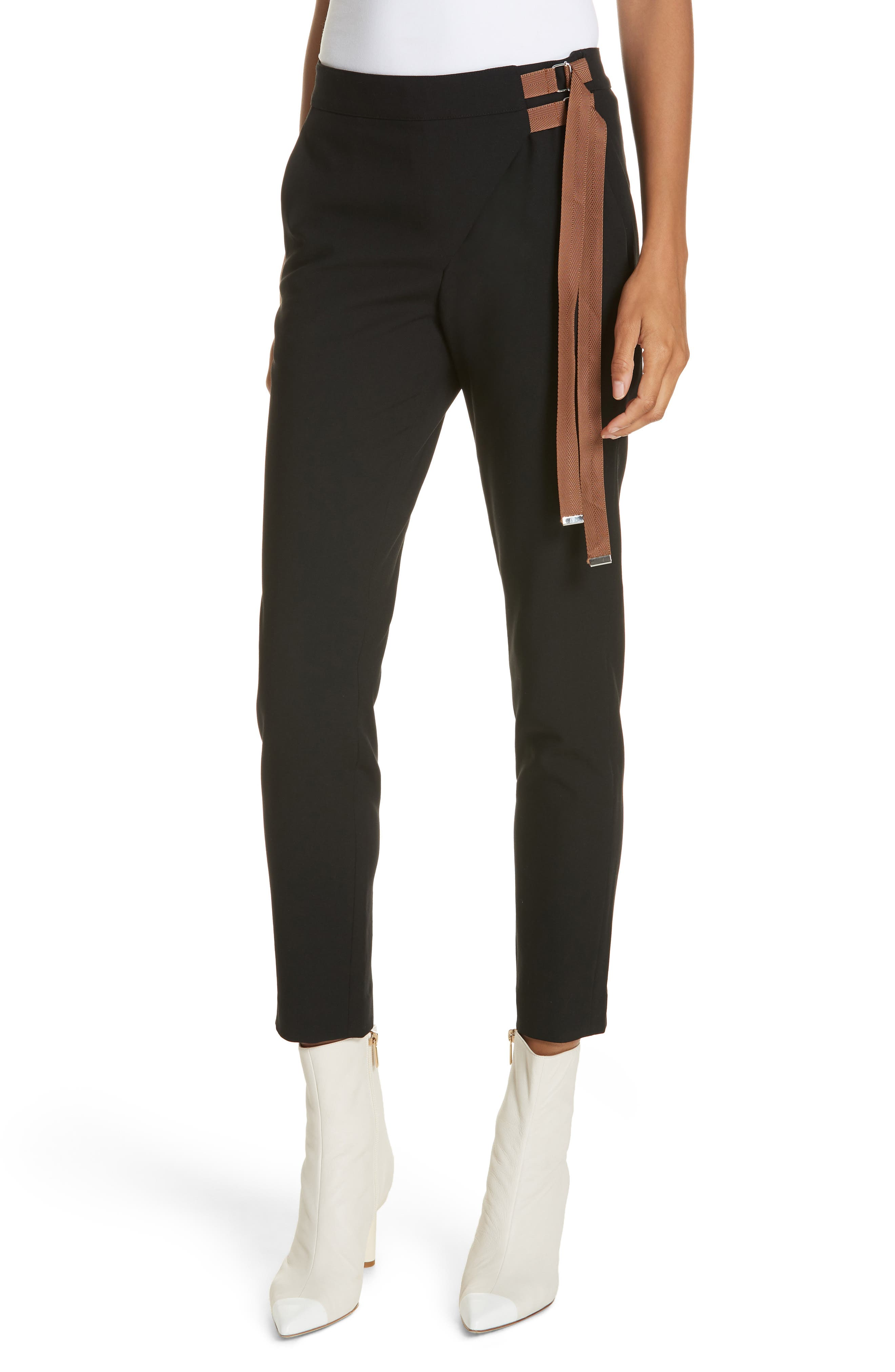 Anson Stretch Side Buckle Skinny Pants in Black