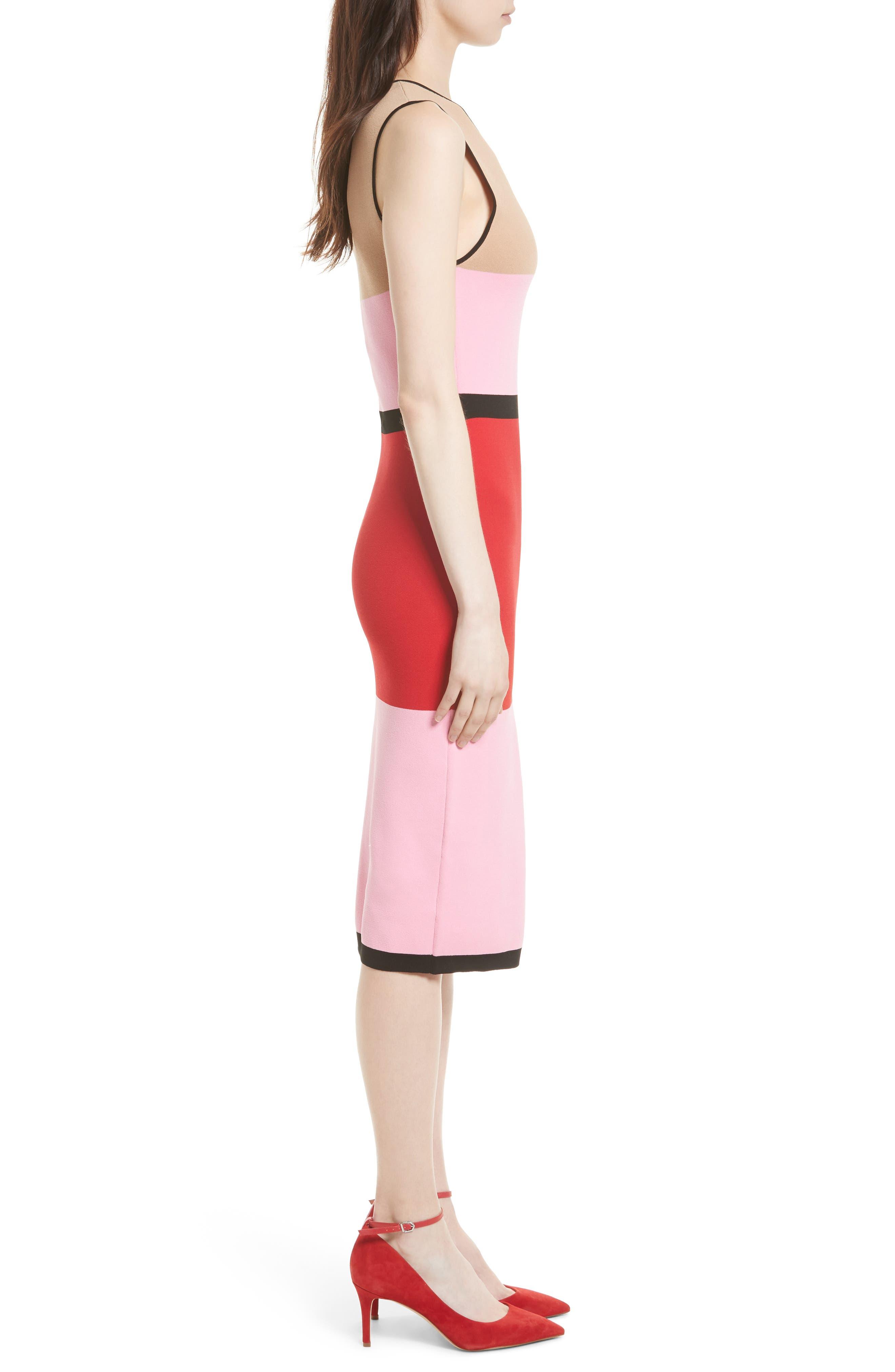 Colorblock Knit Dress,                             Alternate thumbnail 3, color,                             643