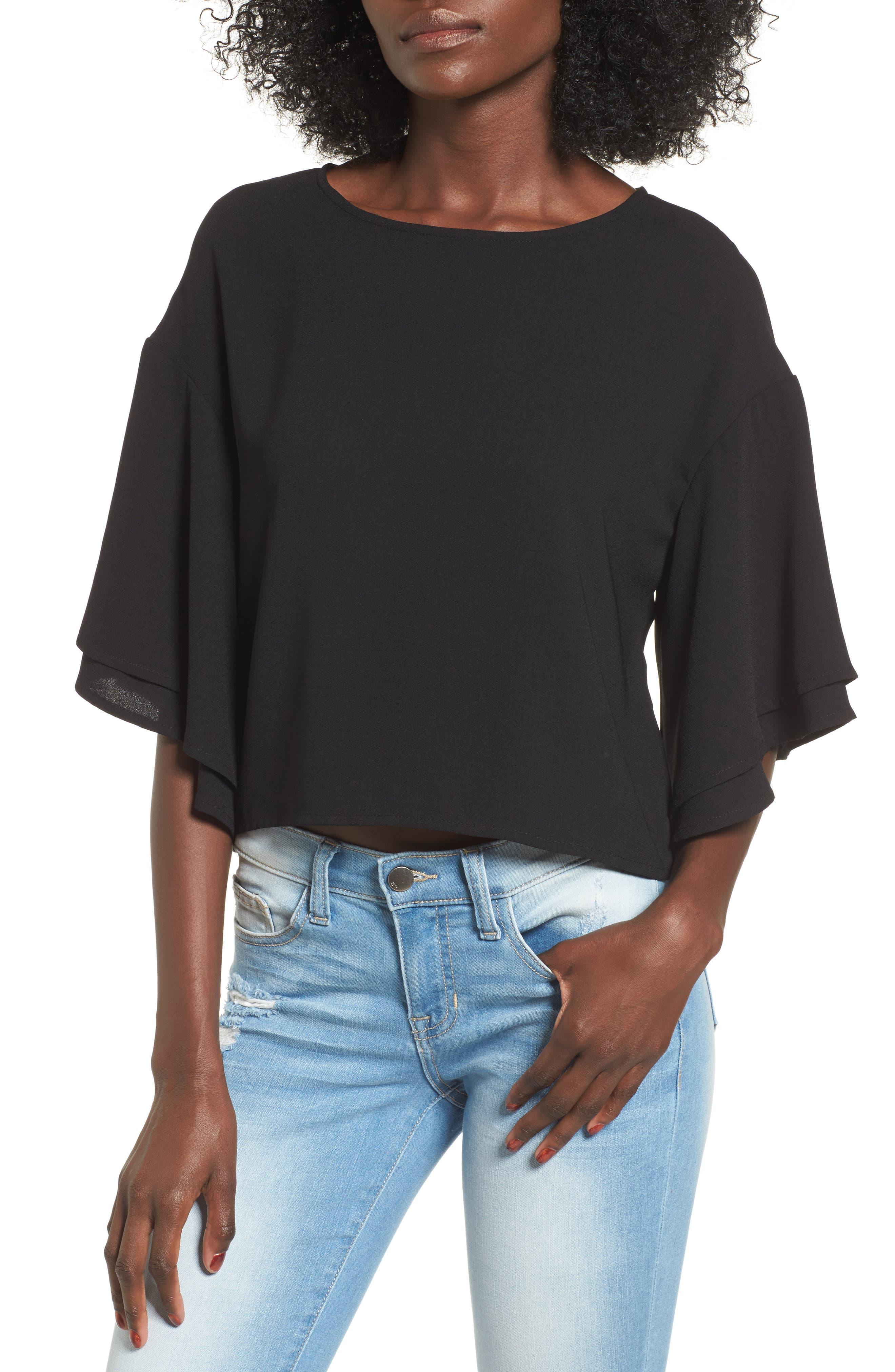 Double Ruffle Sleeve Top,                         Main,                         color, 001