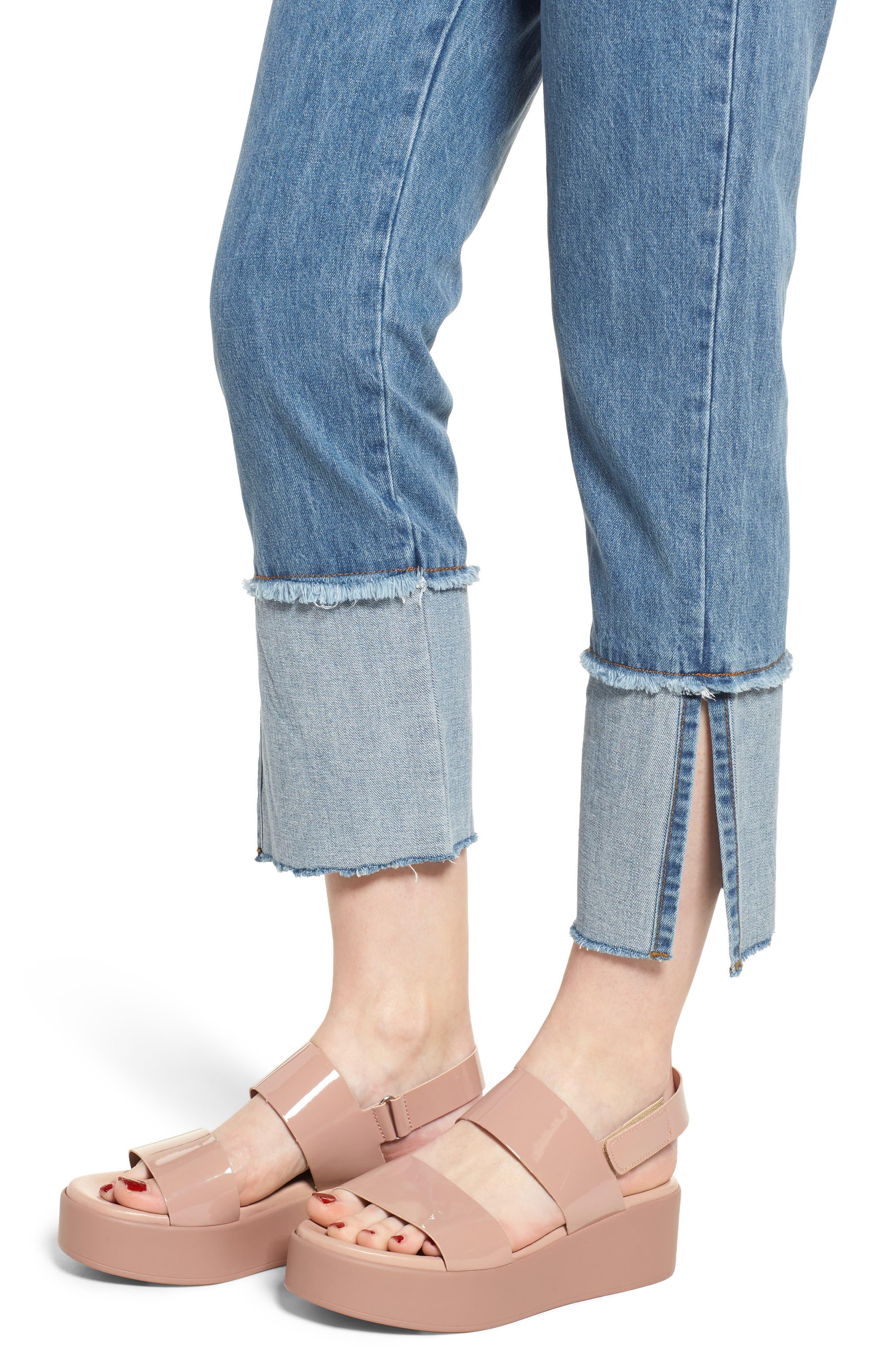 Cuffed Raw Hem Crop Jeans,                             Alternate thumbnail 4, color,                             FAIRFAX
