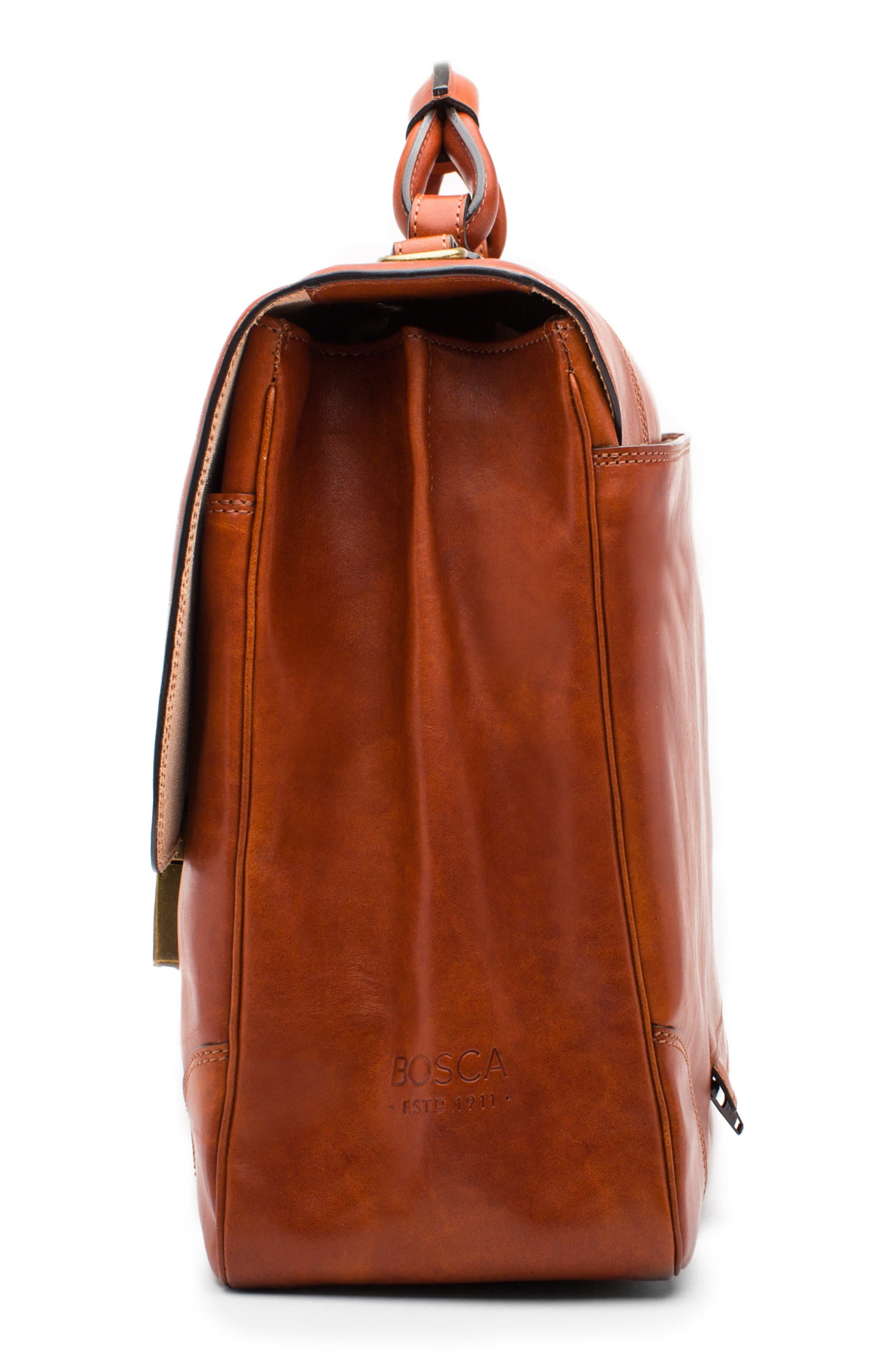 Dolce Leather Briefcase,                             Alternate thumbnail 4, color,                             AMBER