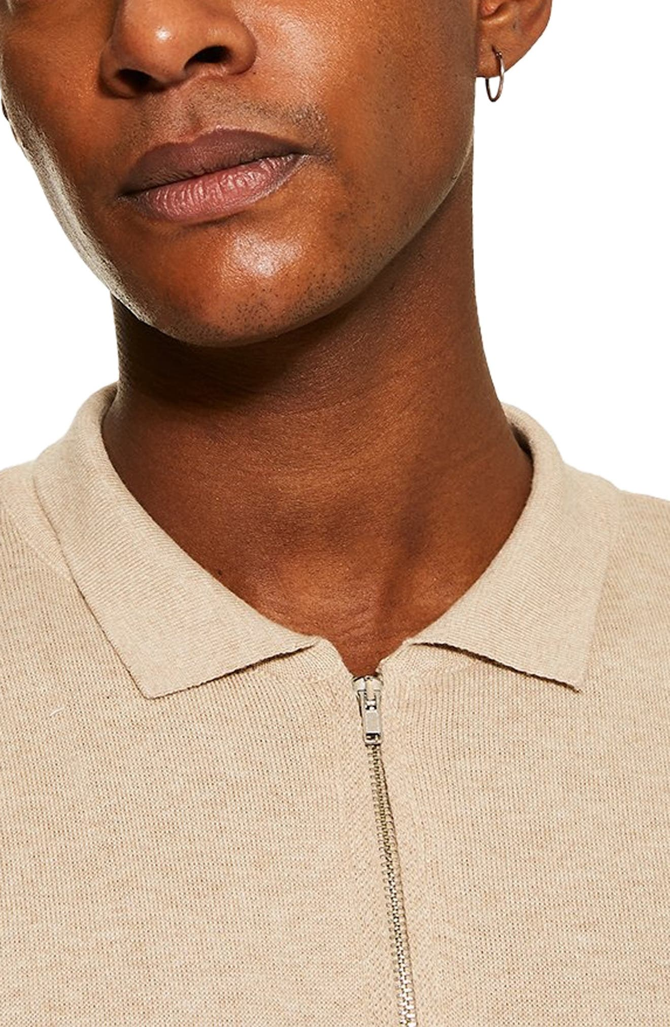 TOPMAN,                             Long Sleeve Polo Sweater,                             Alternate thumbnail 3, color,                             STONE