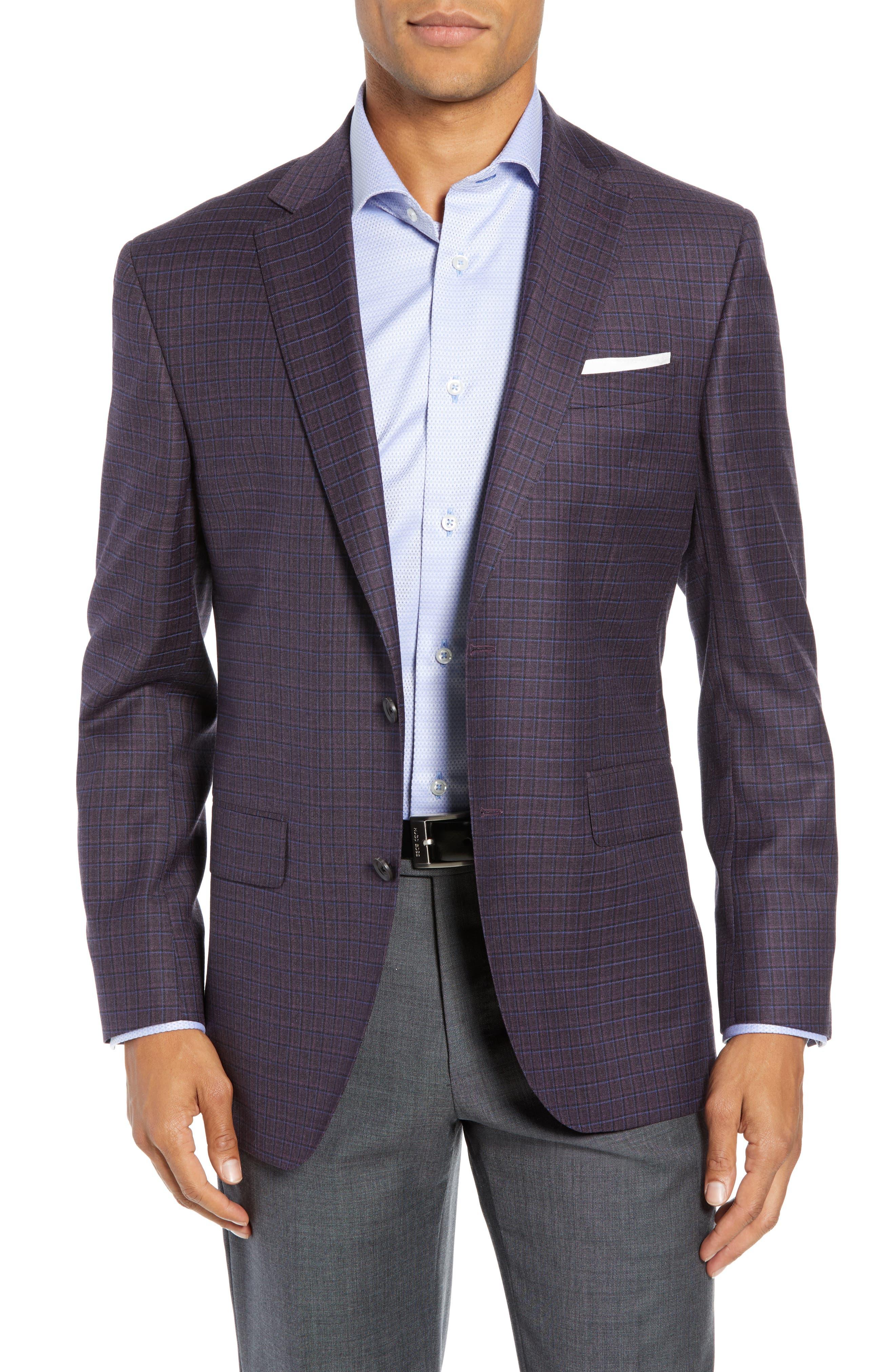 Connor Classic Fit Check Wool Sport Coat,                             Main thumbnail 1, color,                             BORDEAUX