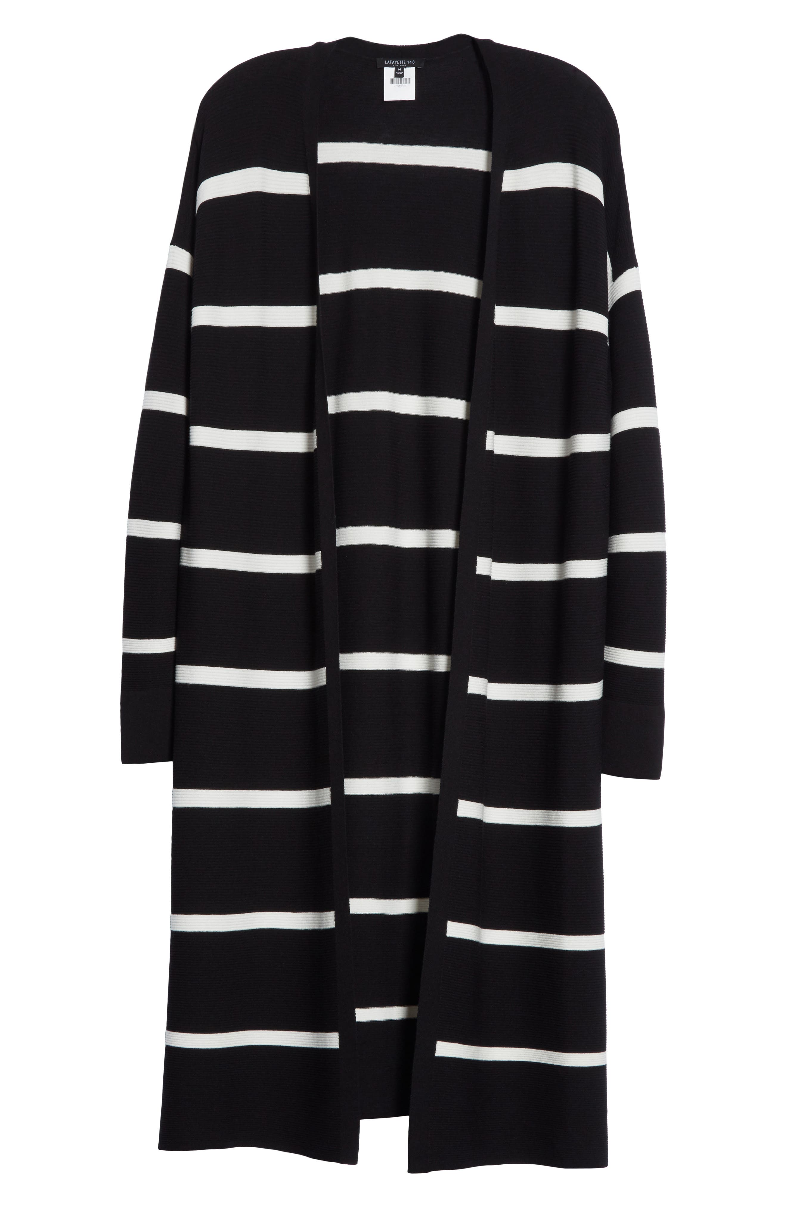 Stripe Open Front Long Cardigan,                             Alternate thumbnail 6, color,                             010