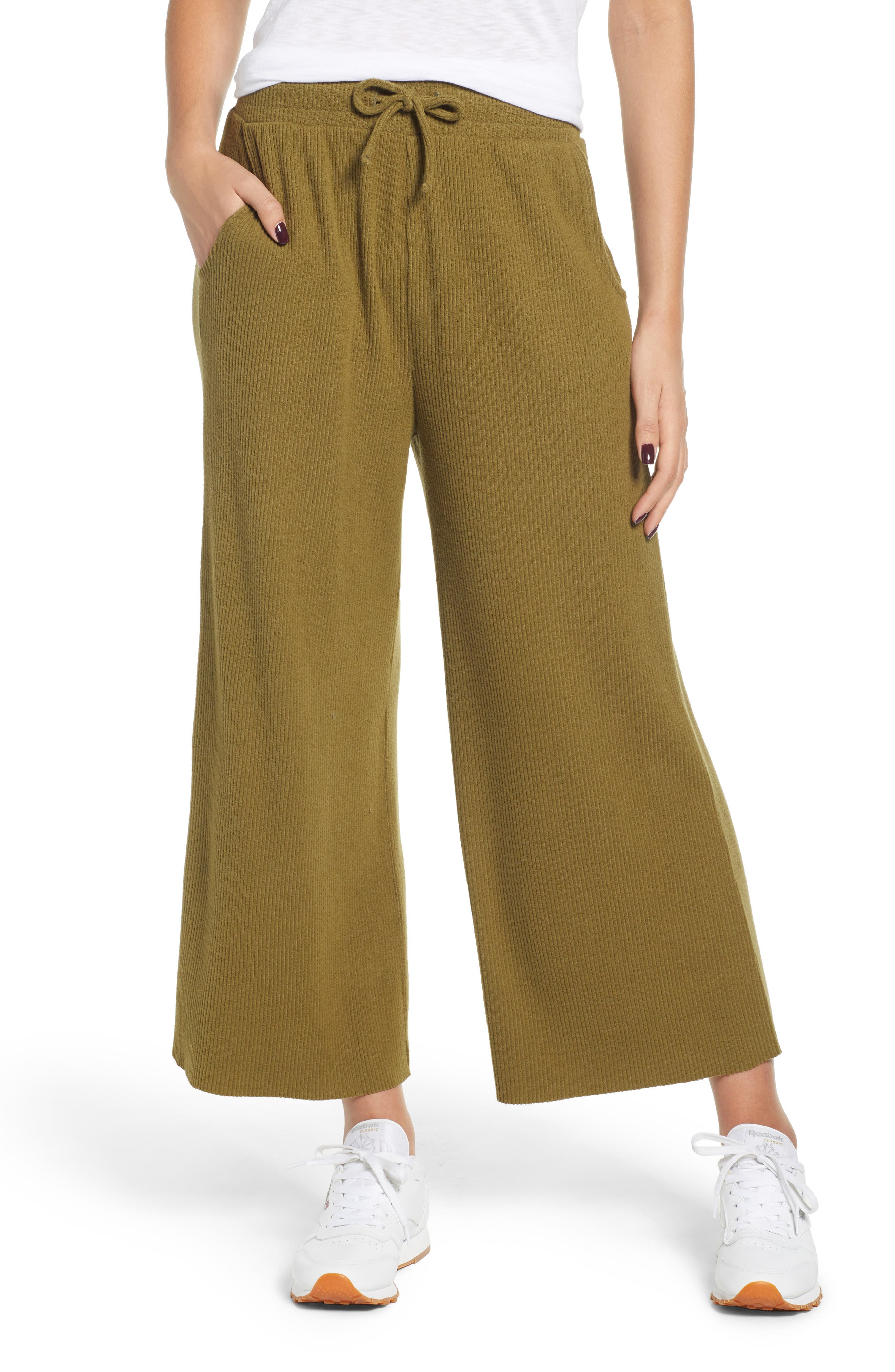 Ribbed Wide Leg Crop Pants,                         Main,                         color, OLIVE ITALY