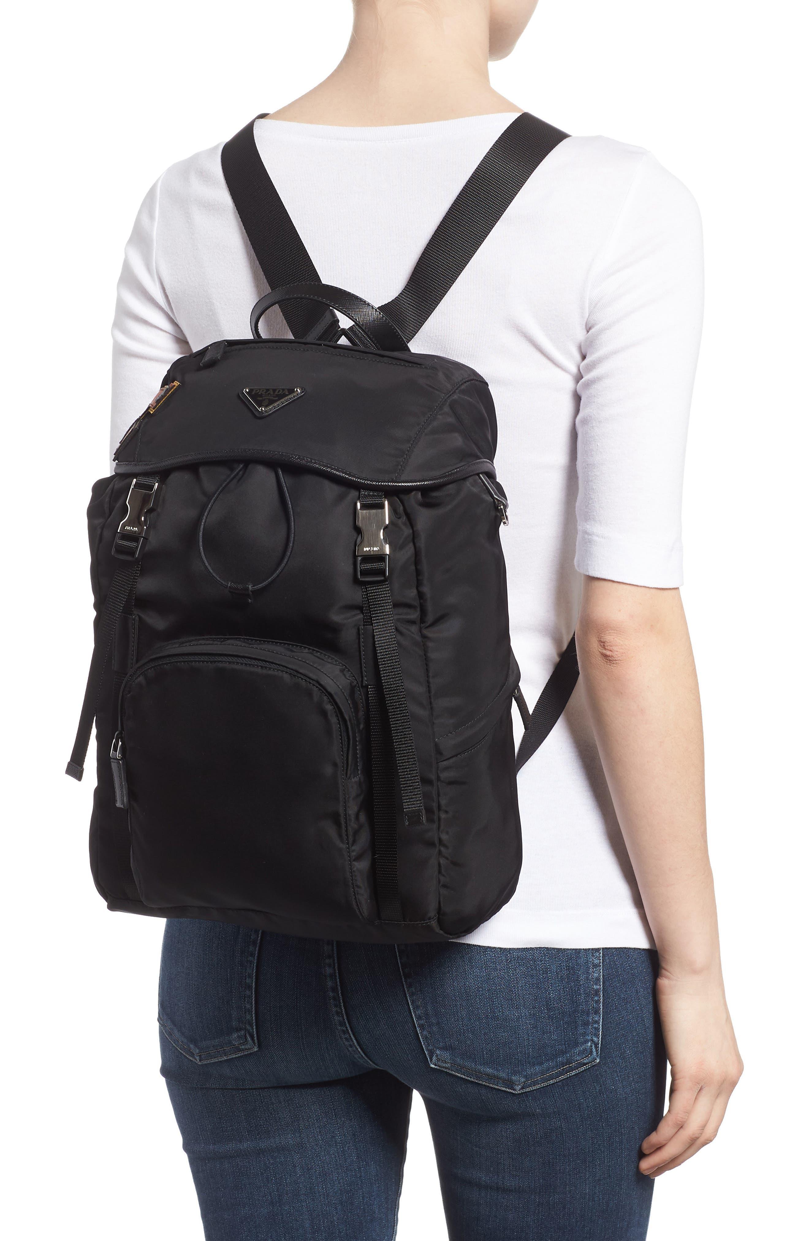 PRADA,                             Tessuto Lettering Unisex Nylon Backpack,                             Alternate thumbnail 2, color,                             001