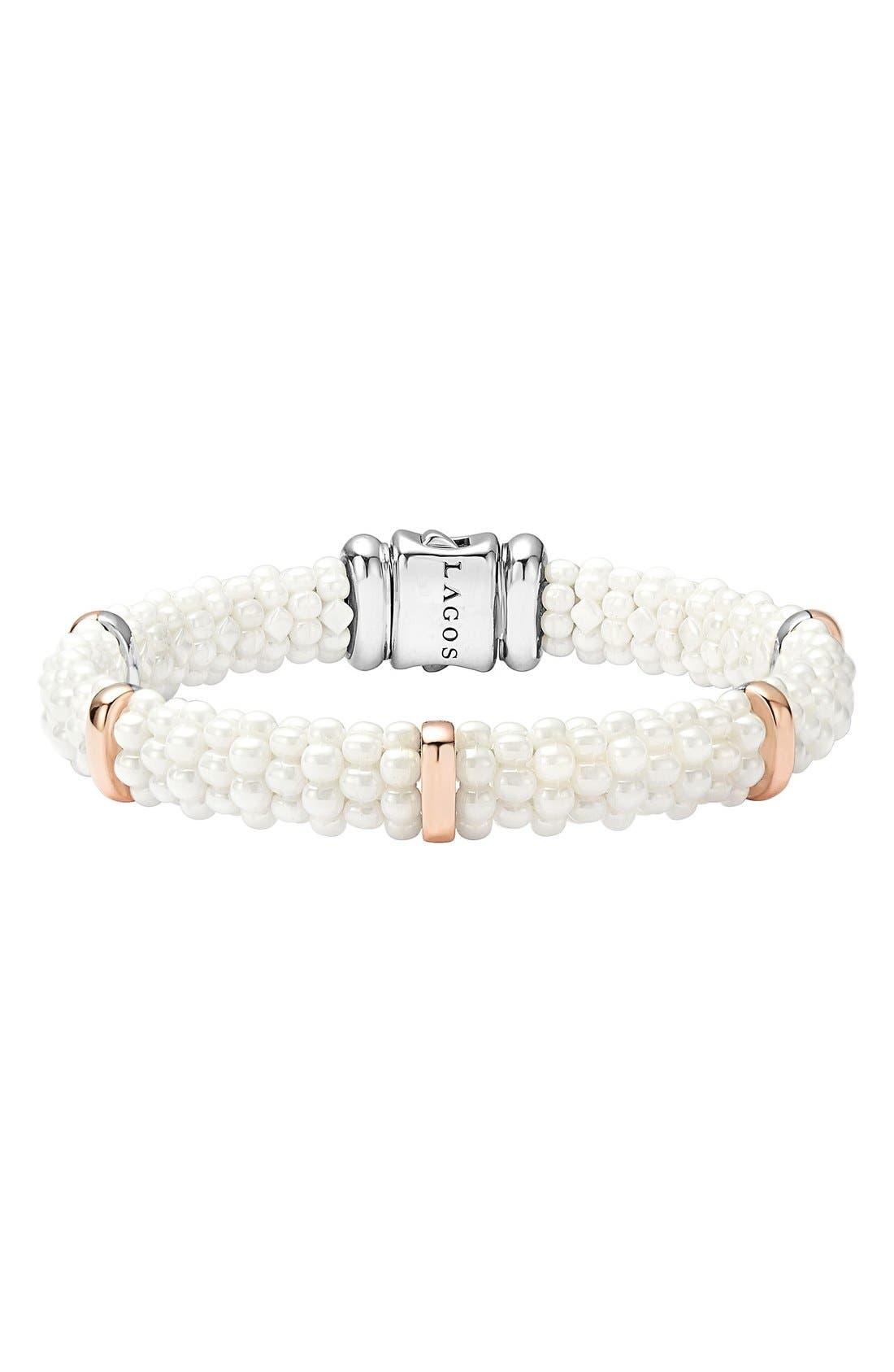 'White Caviar' Five Station Bracelet,                             Main thumbnail 1, color,                             100