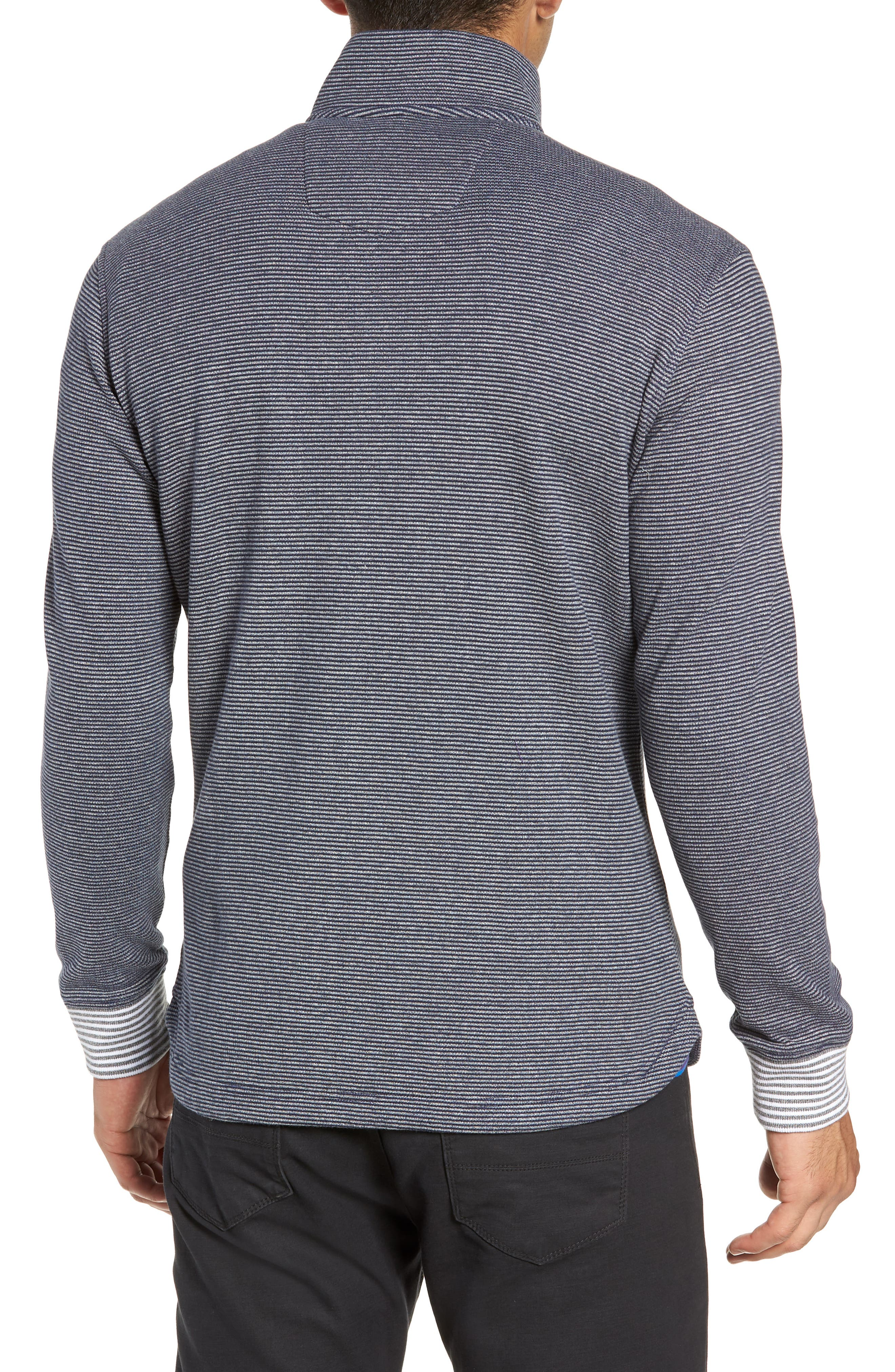 Kitson Classic Fit Stripe Quarter Zip Sweater,                             Alternate thumbnail 2, color,                             HEATHER NAVY
