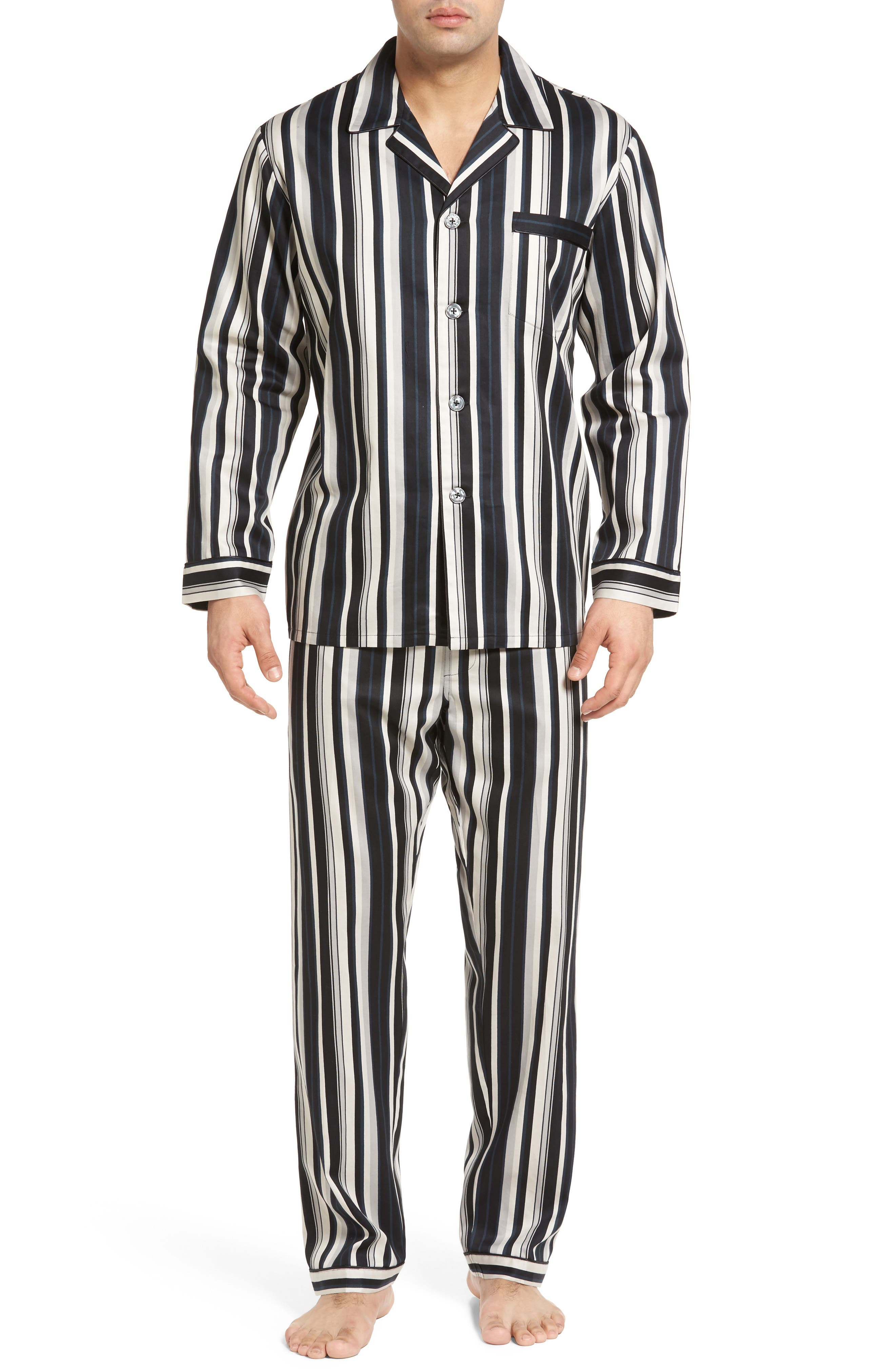 Winslow Pajama Set,                         Main,                         color, BLACK STRIPE