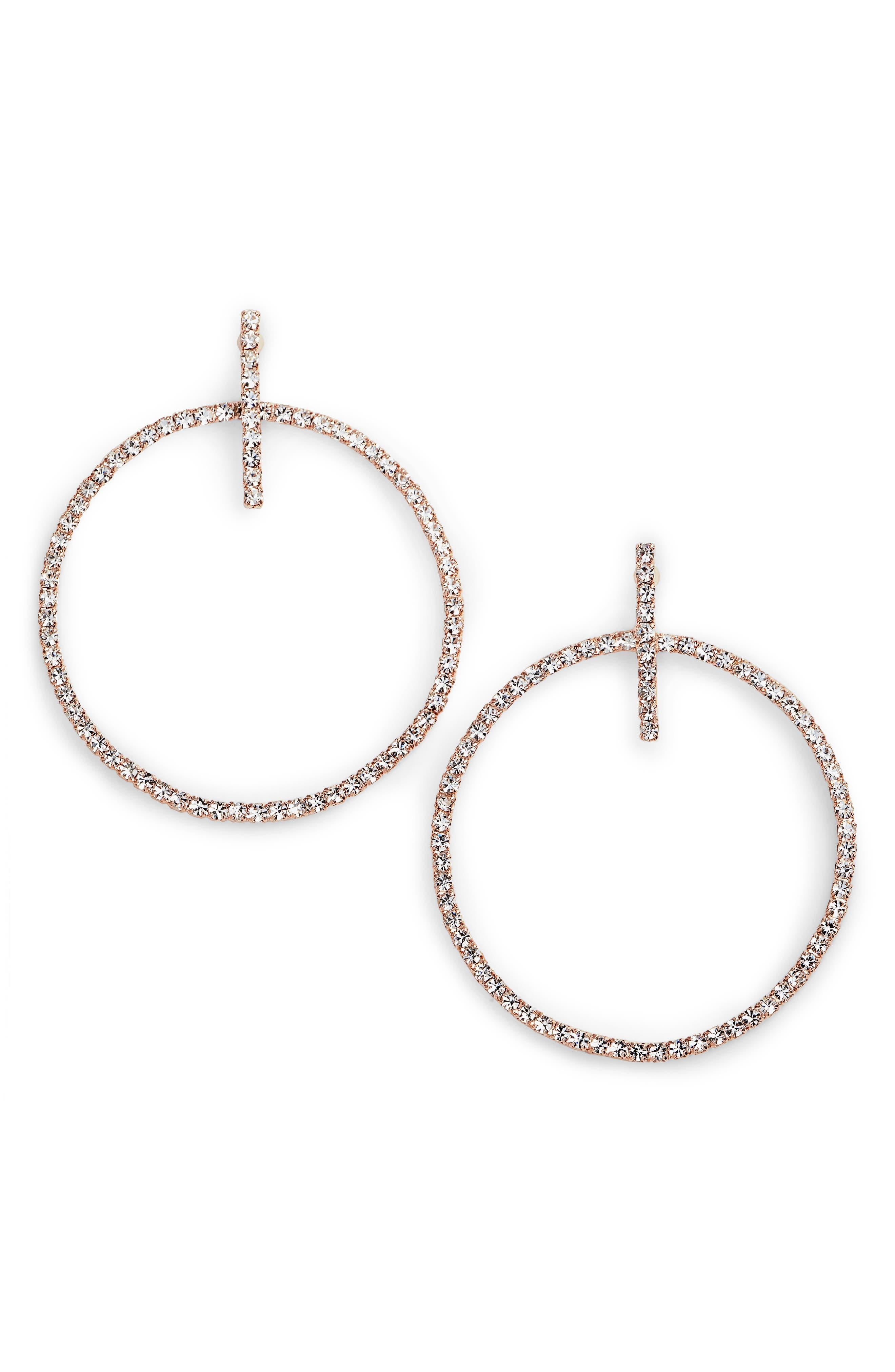 Crystal Hoop Drop Earrings,                             Main thumbnail 2, color,
