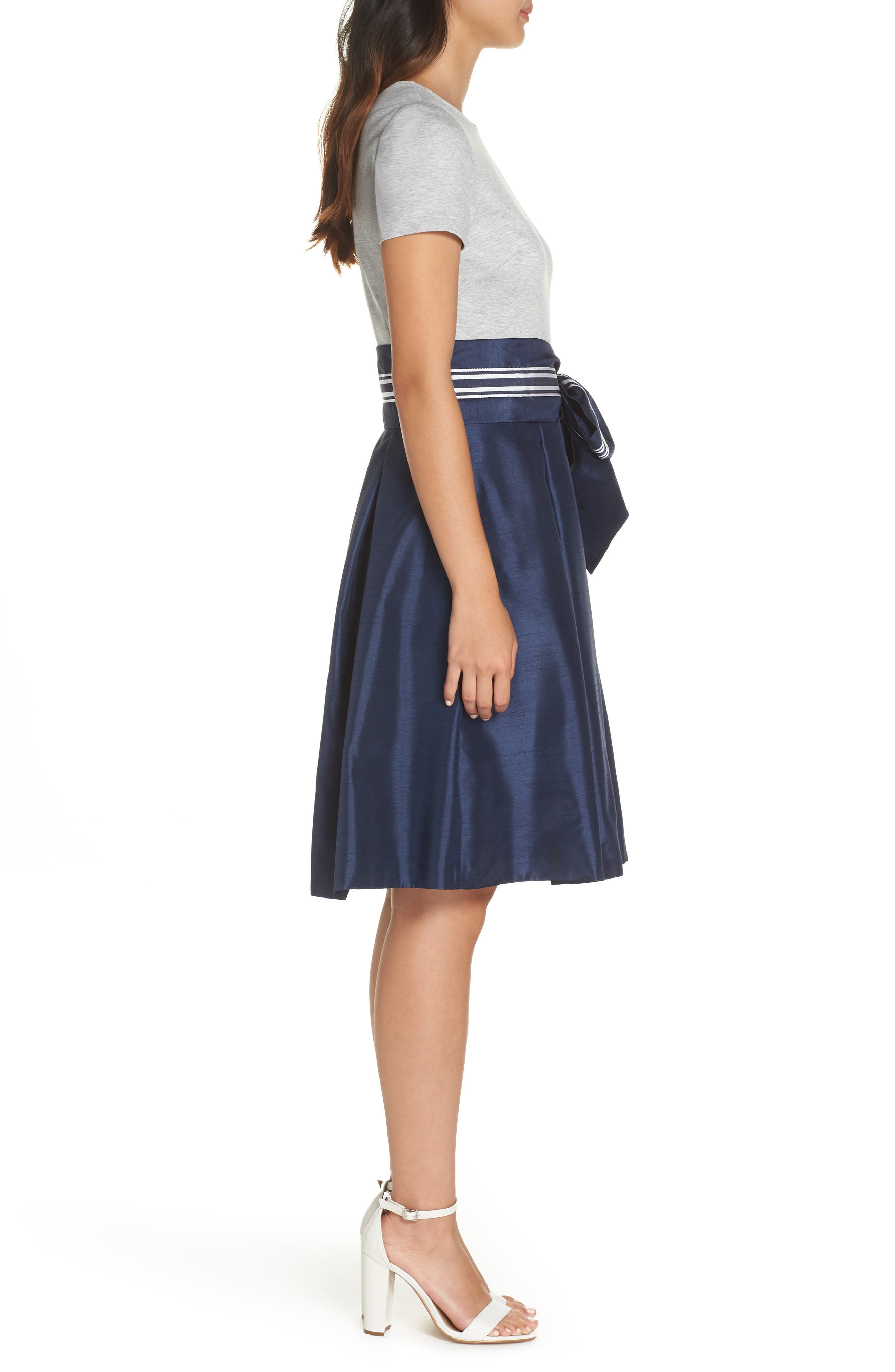 Mixed Media Dress,                             Alternate thumbnail 3, color,                             GREY- NAVY COLORBLOCK