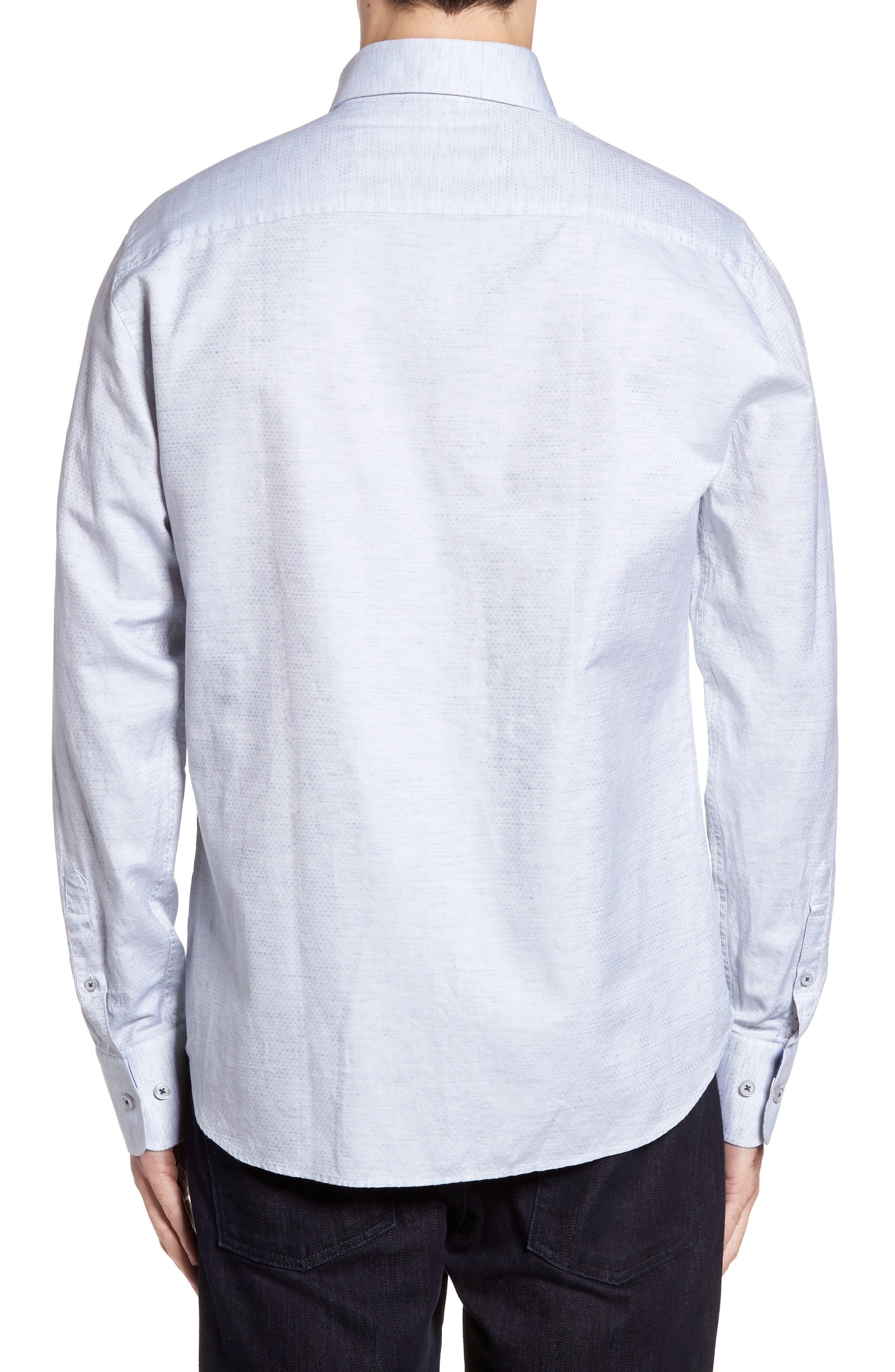 Dobby Cotton & Linen Sport Shirt,                             Alternate thumbnail 5, color,