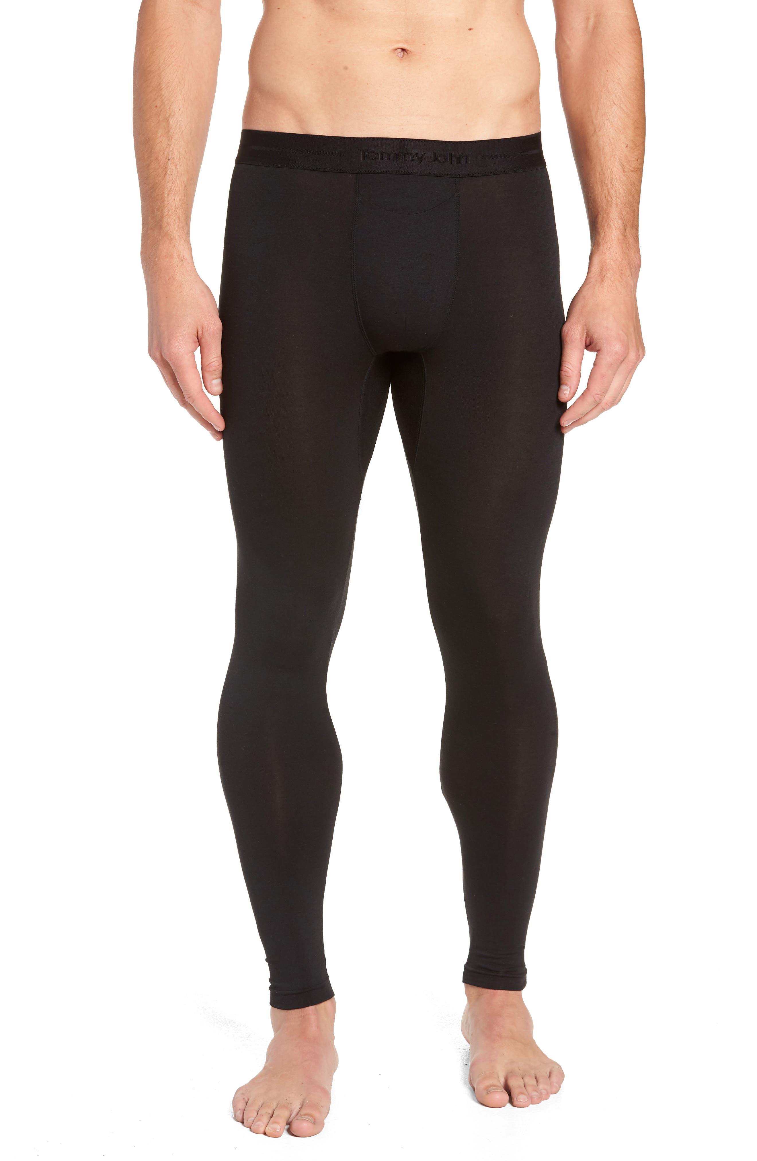 Tommy  John Sleek Heat Leggings,                         Main,                         color, BLACK