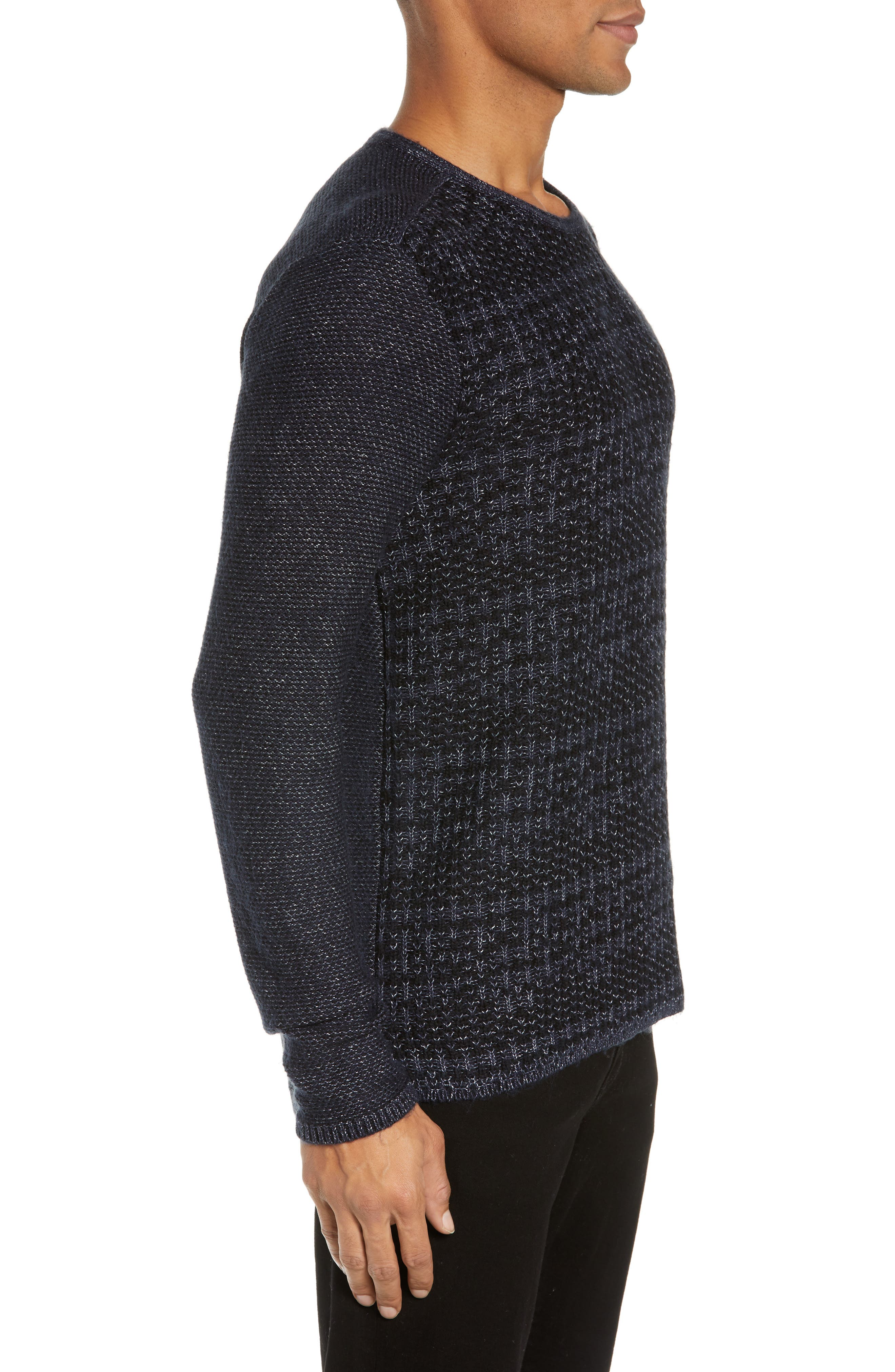 Mix Stitch Regular Fit Cotton Blend Sweater,                             Alternate thumbnail 3, color,                             INK BLUE