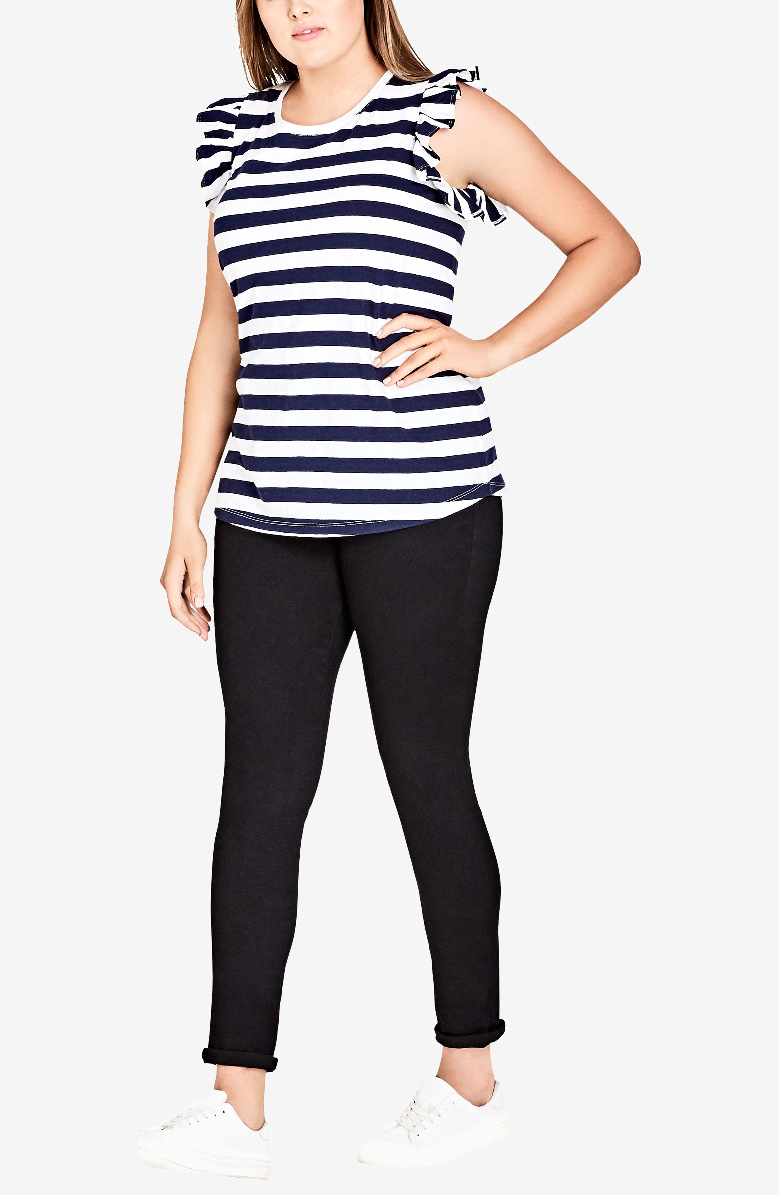 CITY CHIC,                             Stripe Frill Sleeve Knit Top,                             Alternate thumbnail 3, color,                             108