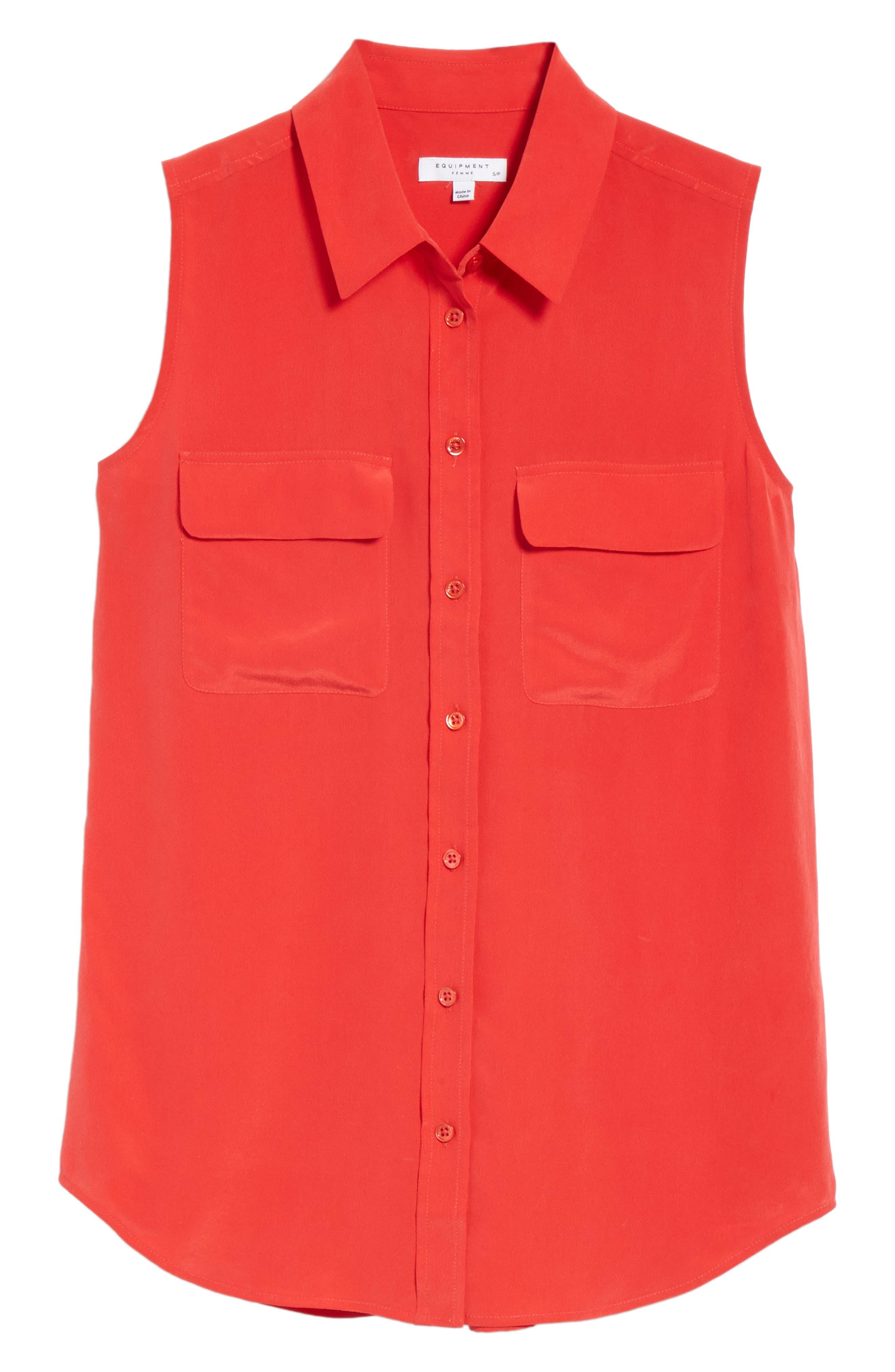 'Slim Signature' Sleeveless Silk Shirt,                             Alternate thumbnail 209, color,