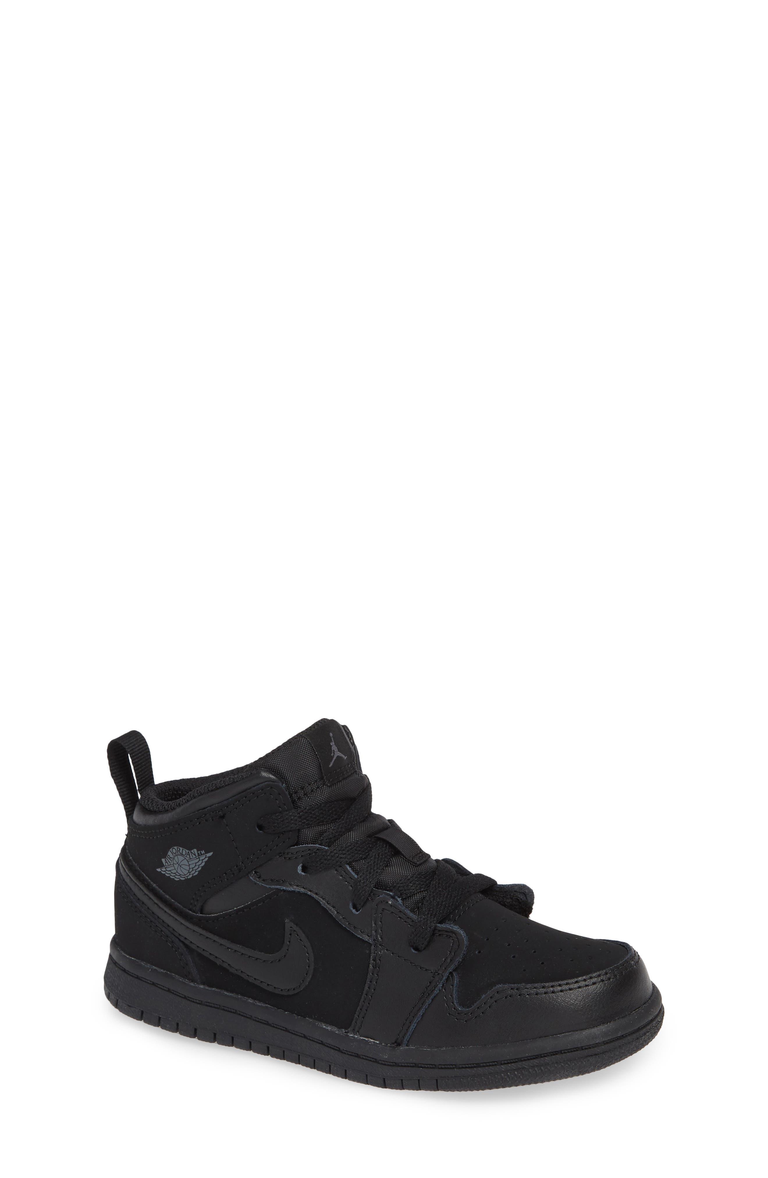 Nike 'Air Jordan 1 Mid' Sneaker,                             Main thumbnail 1, color,                             BLACK/ DARK GREY/ BLACK