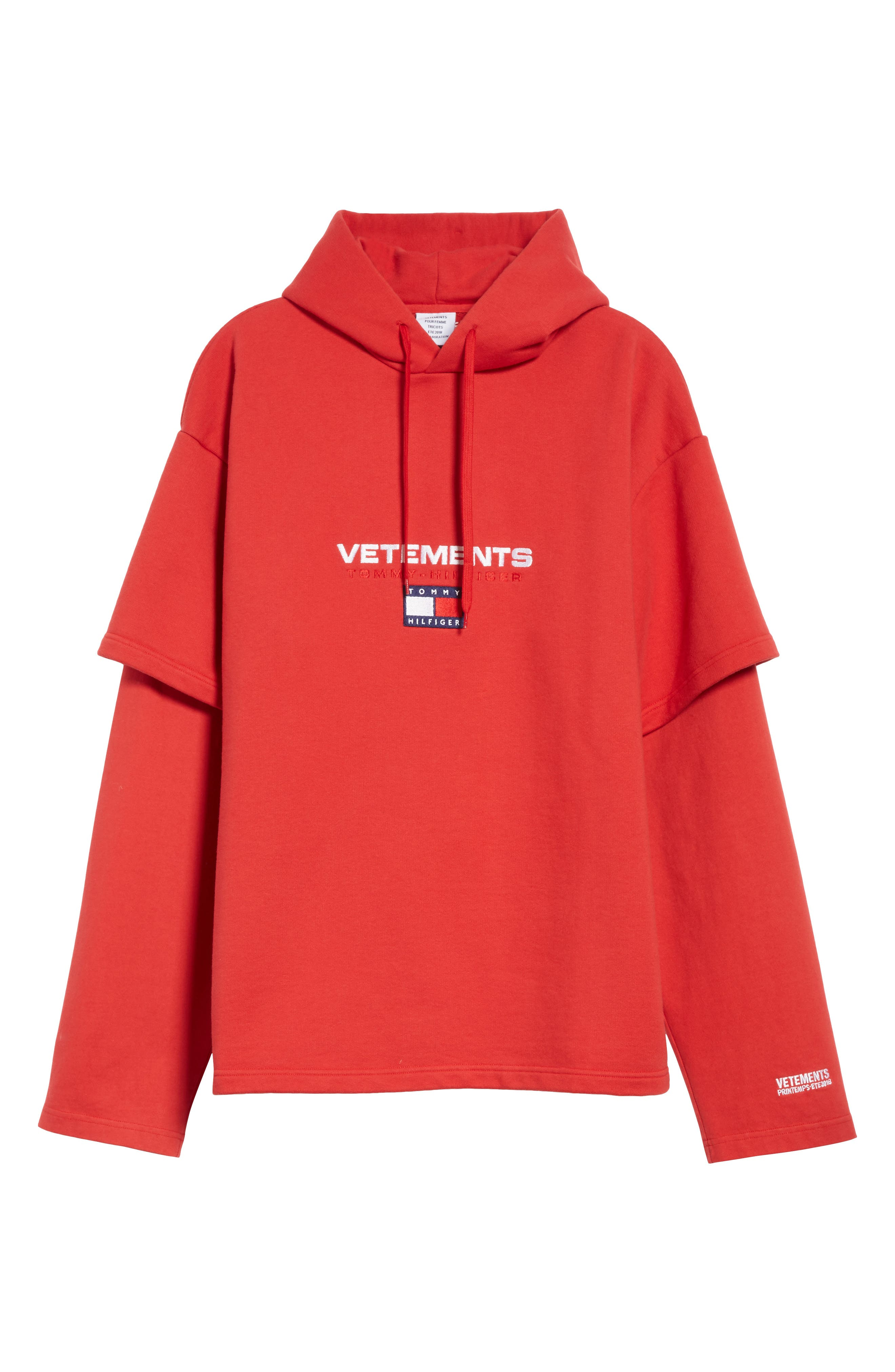 Tommy Hilfiger Double Sleeve Hoodie,                             Alternate thumbnail 6, color,