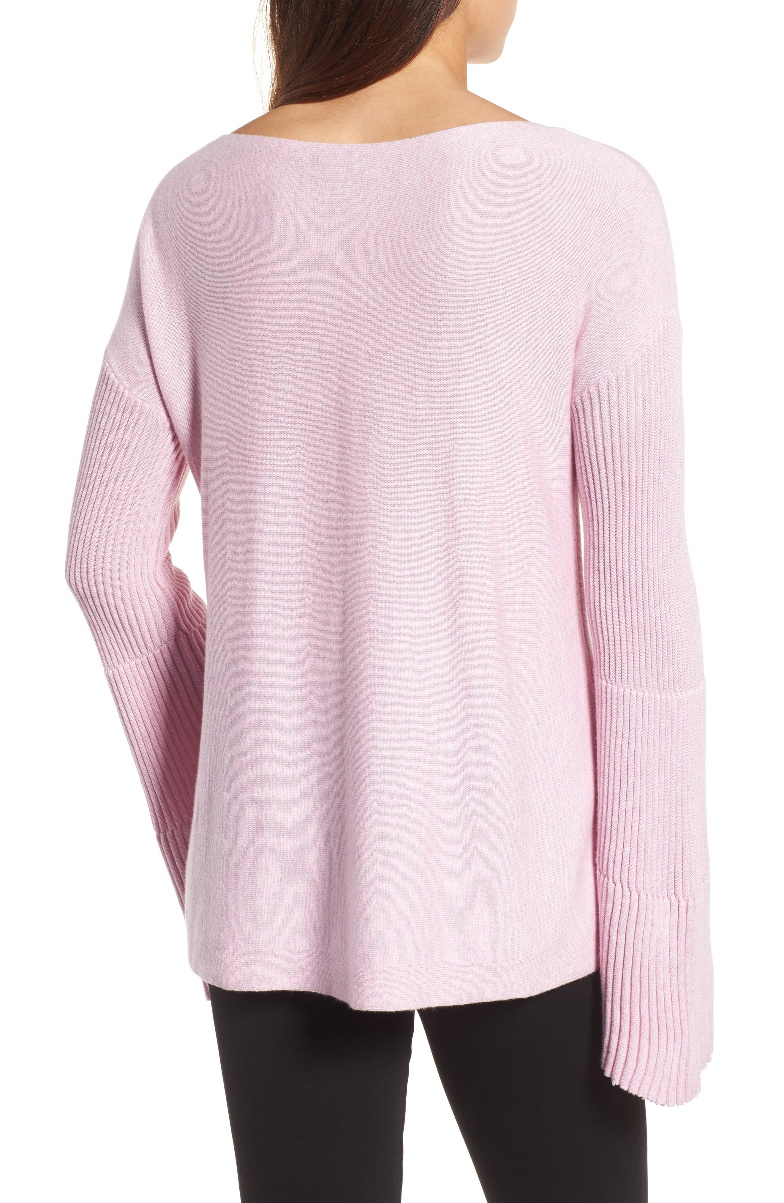 Bell Sleeve Ribbed Sweater,                             Alternate thumbnail 18, color,
