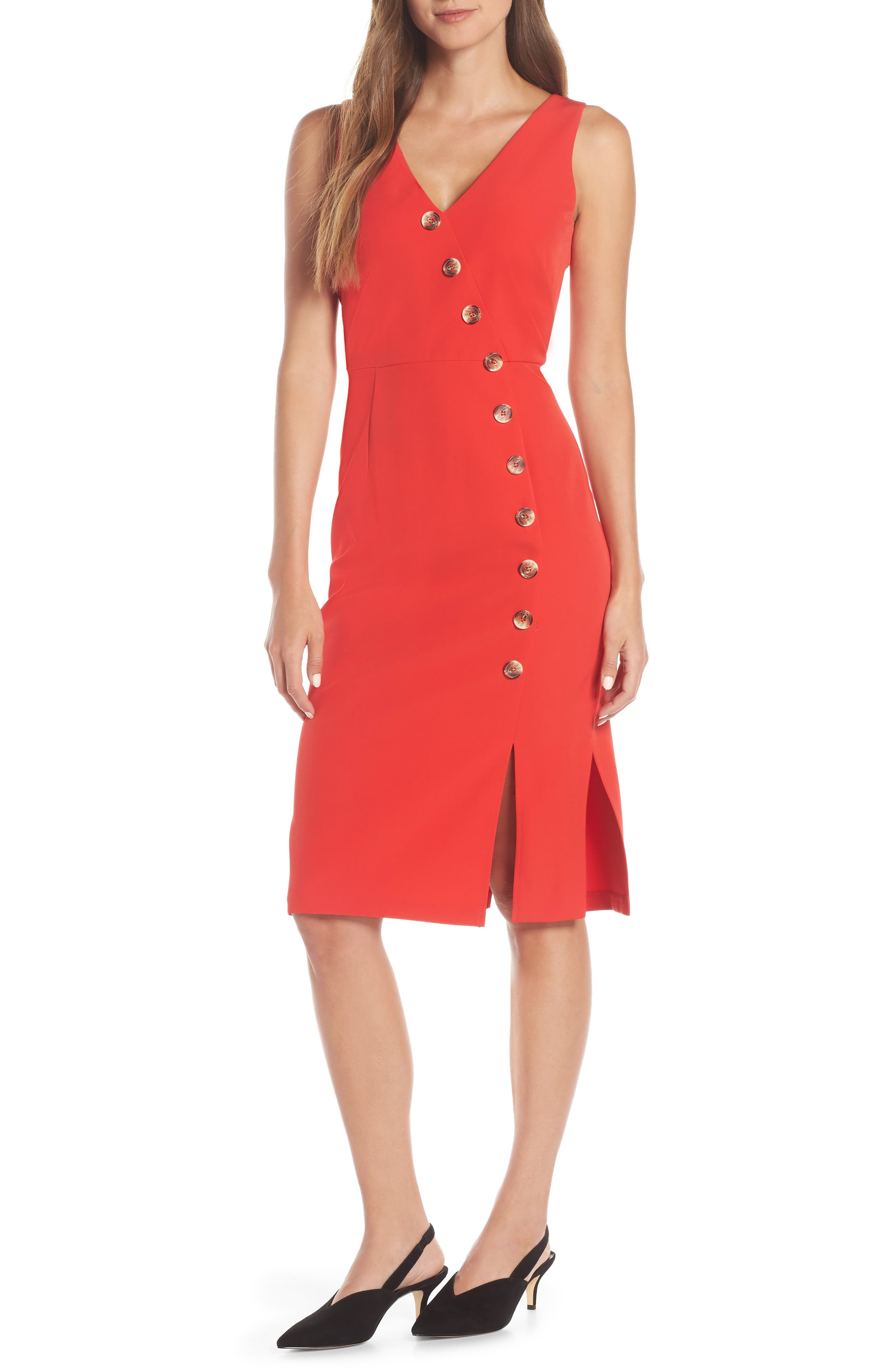 Vince Camuto Asymmetrical Button Front Dress, 8 (similar to 1) - Red