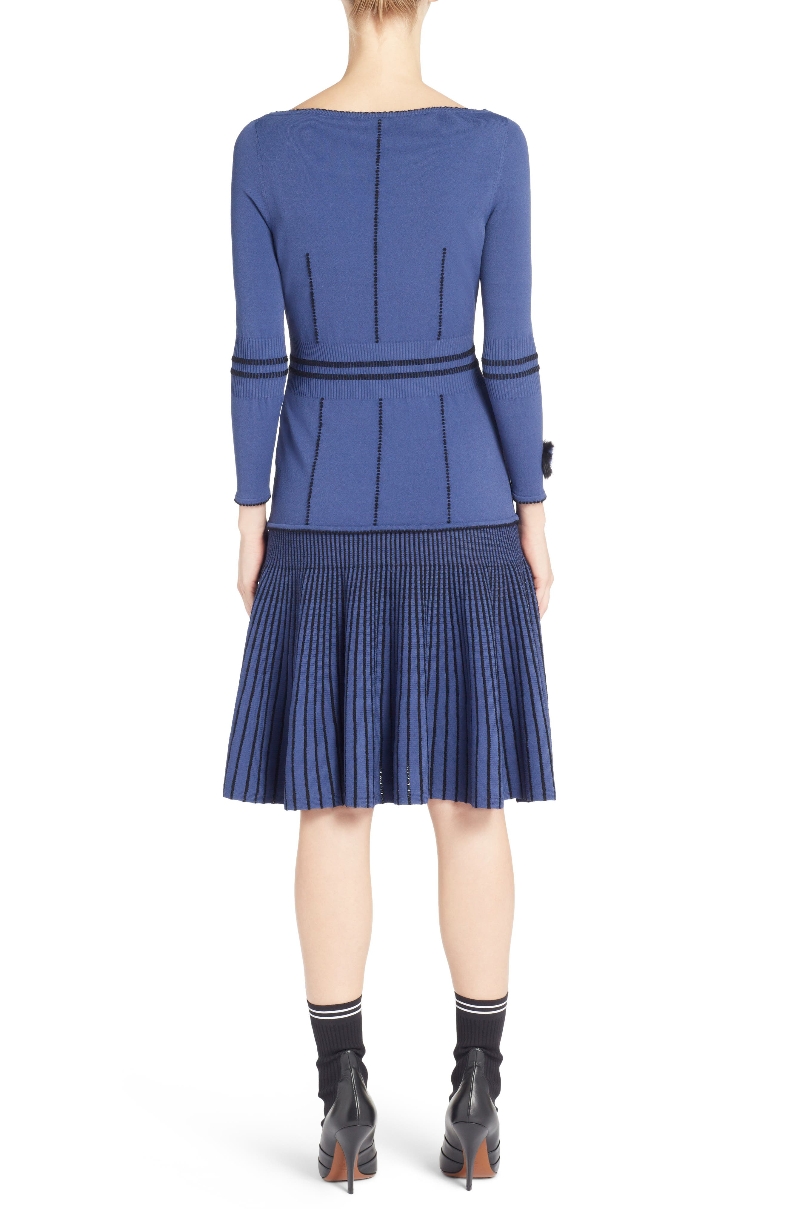Knit Drop Waist Dress with Genuine Mink Fur Trim,                             Alternate thumbnail 2, color,                             BLUE