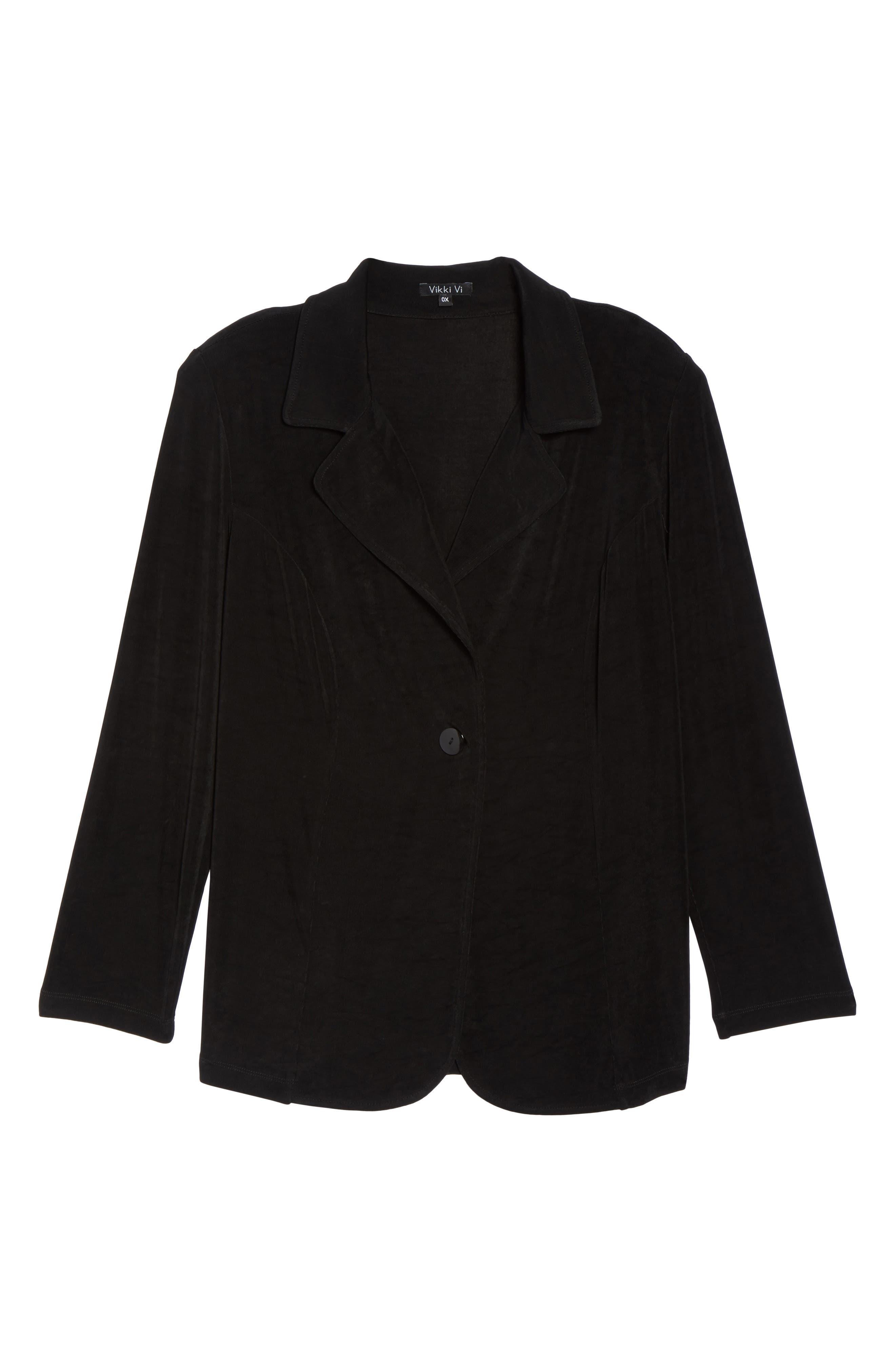 One-Button Stretch Knit Blazer,                             Alternate thumbnail 7, color,                             BLACK