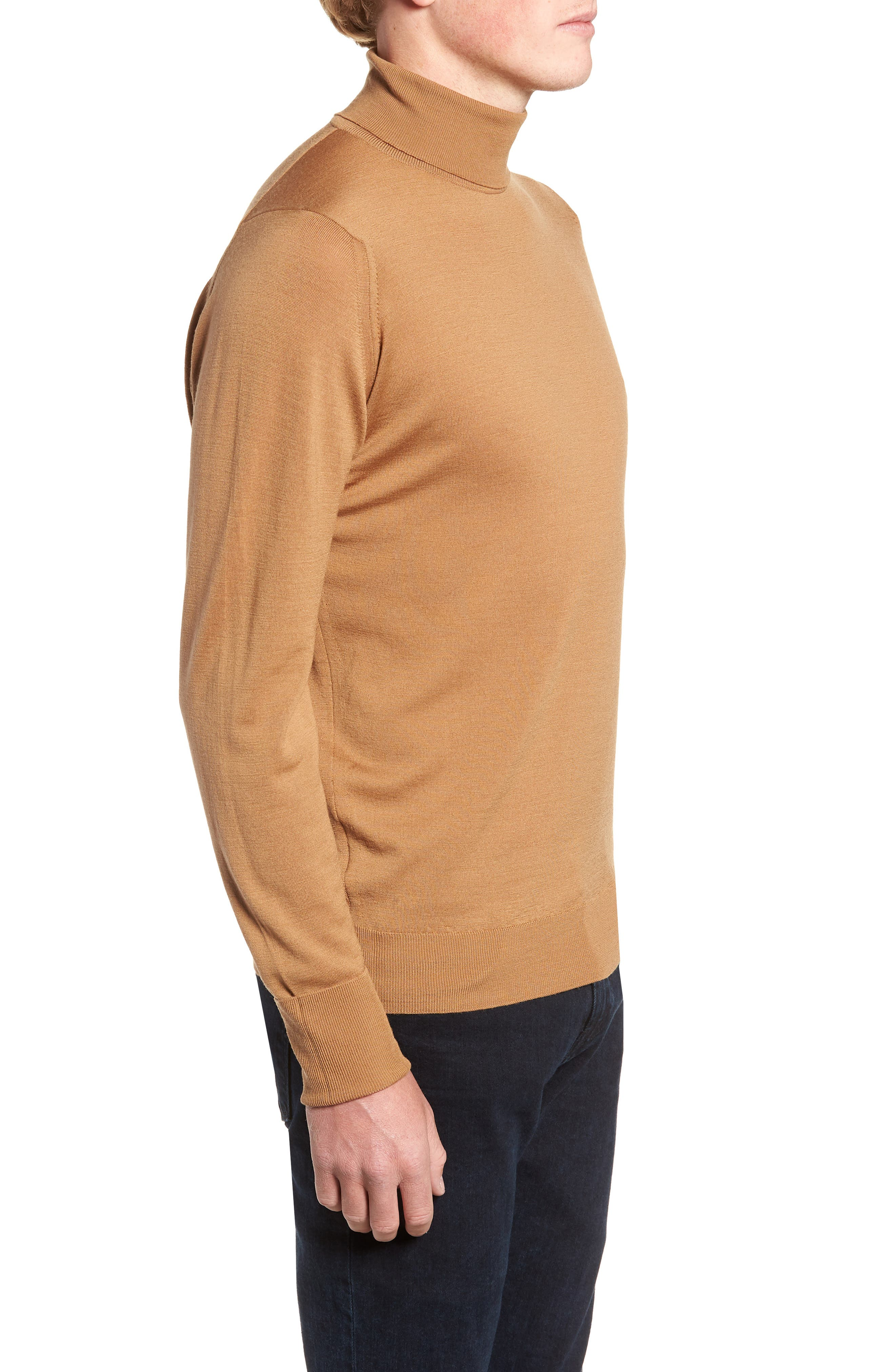'Richards' Easy Fit Turtleneck Wool Sweater,                             Alternate thumbnail 3, color,                             CAMEL