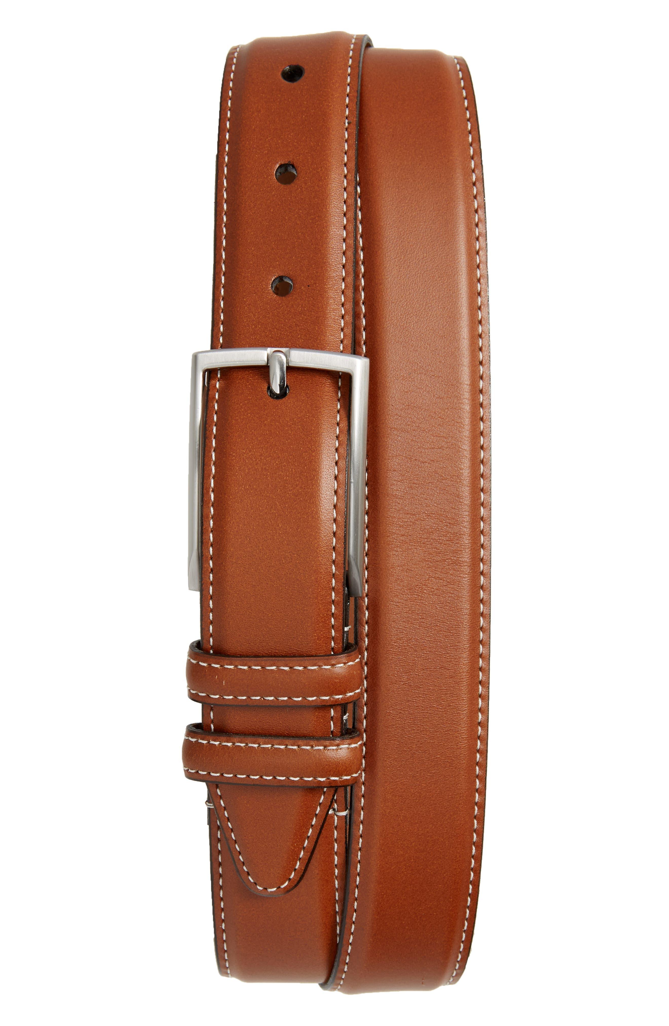 Nordstrom Shop Carter Leather Dress Belt, Cognac