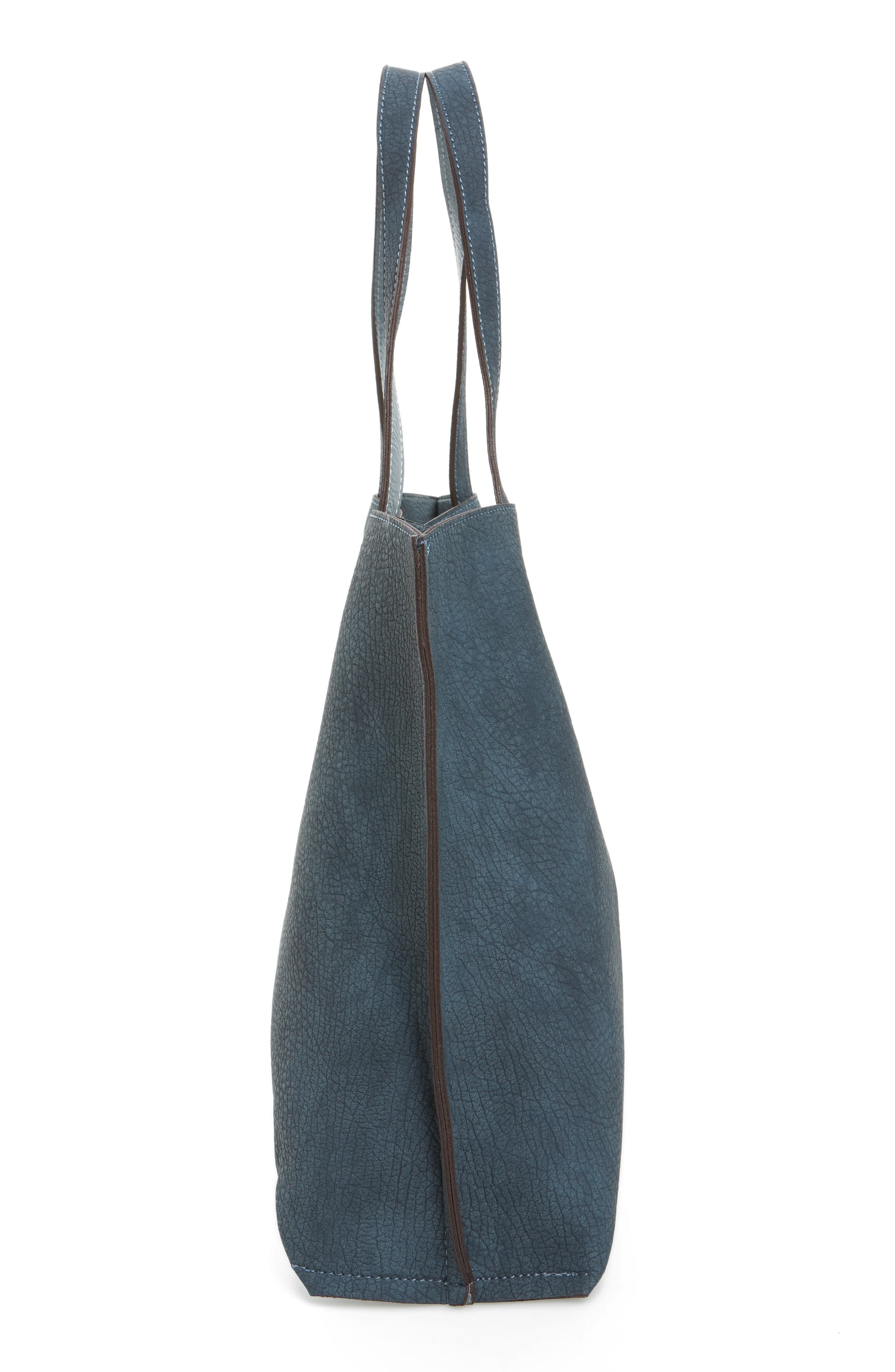Reversible Faux Leather Tote,                             Alternate thumbnail 6, color,                             020