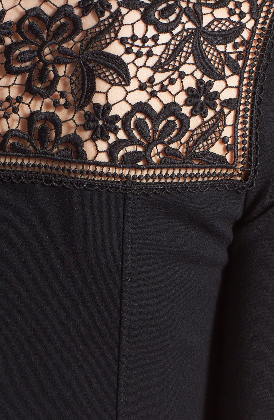 'Rieko' Lace Inset Jersey Dress,                             Alternate thumbnail 6, color,                             001