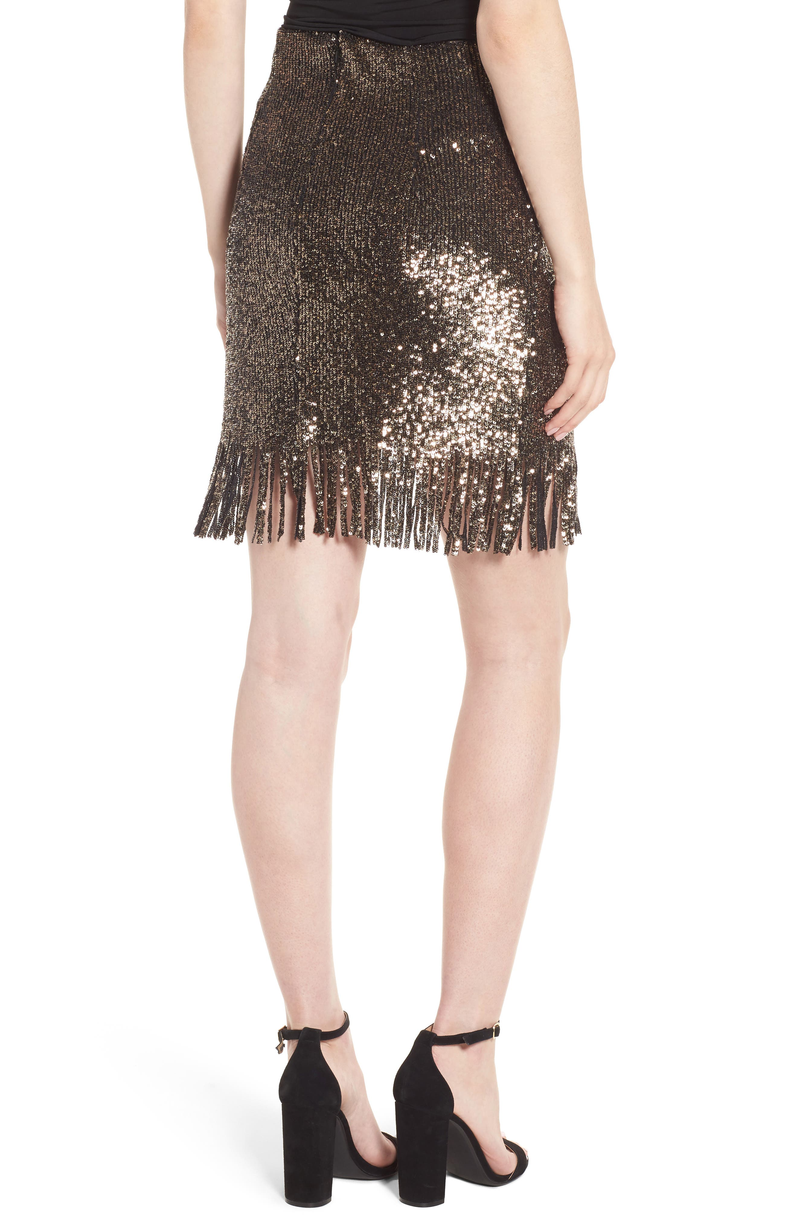 BARDOT,                             Sequin Fringe Skirt,                             Alternate thumbnail 2, color,                             710