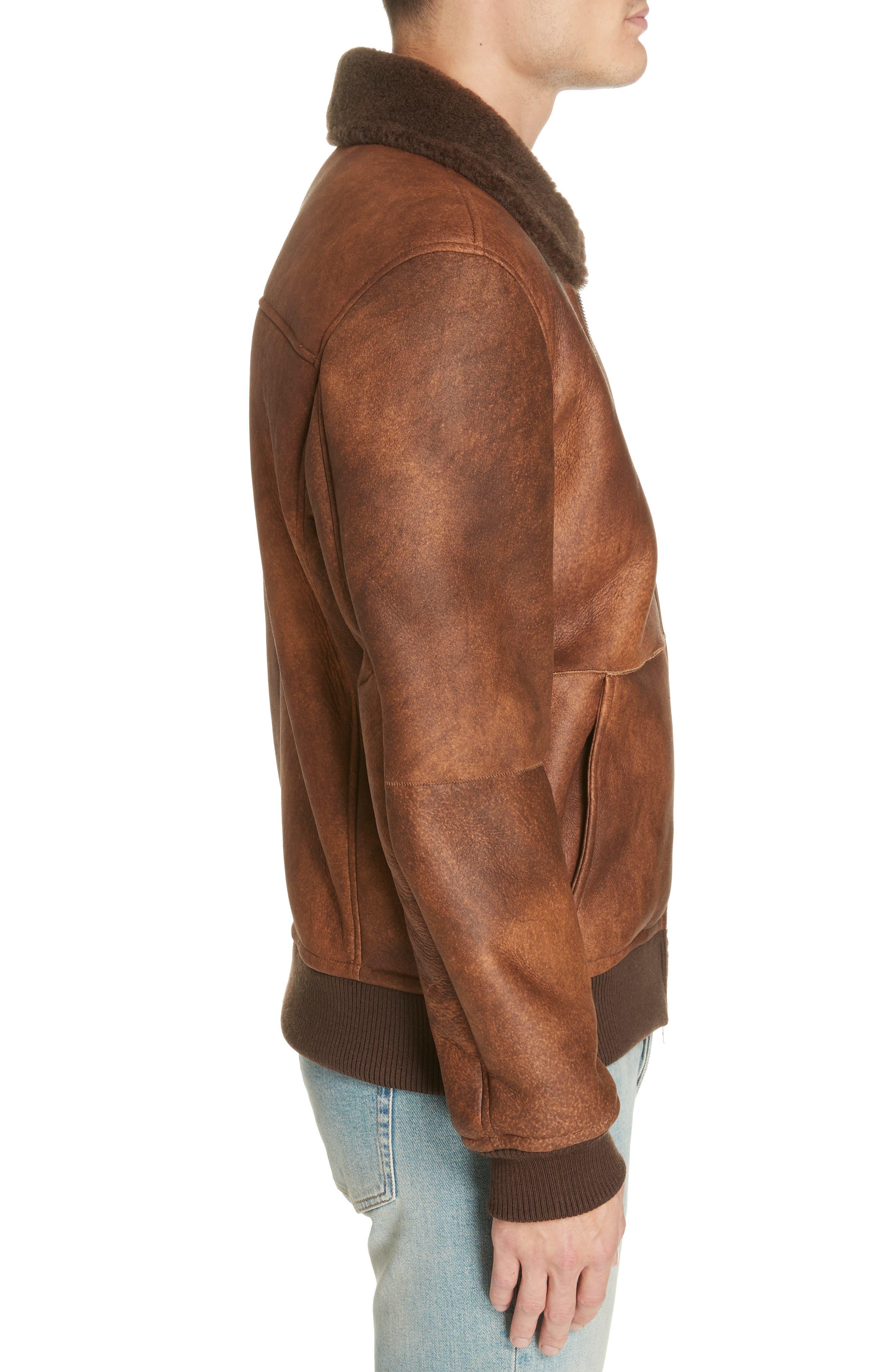 Genuine Shearling Aviator Jacket,                             Alternate thumbnail 3, color,                             BROWN