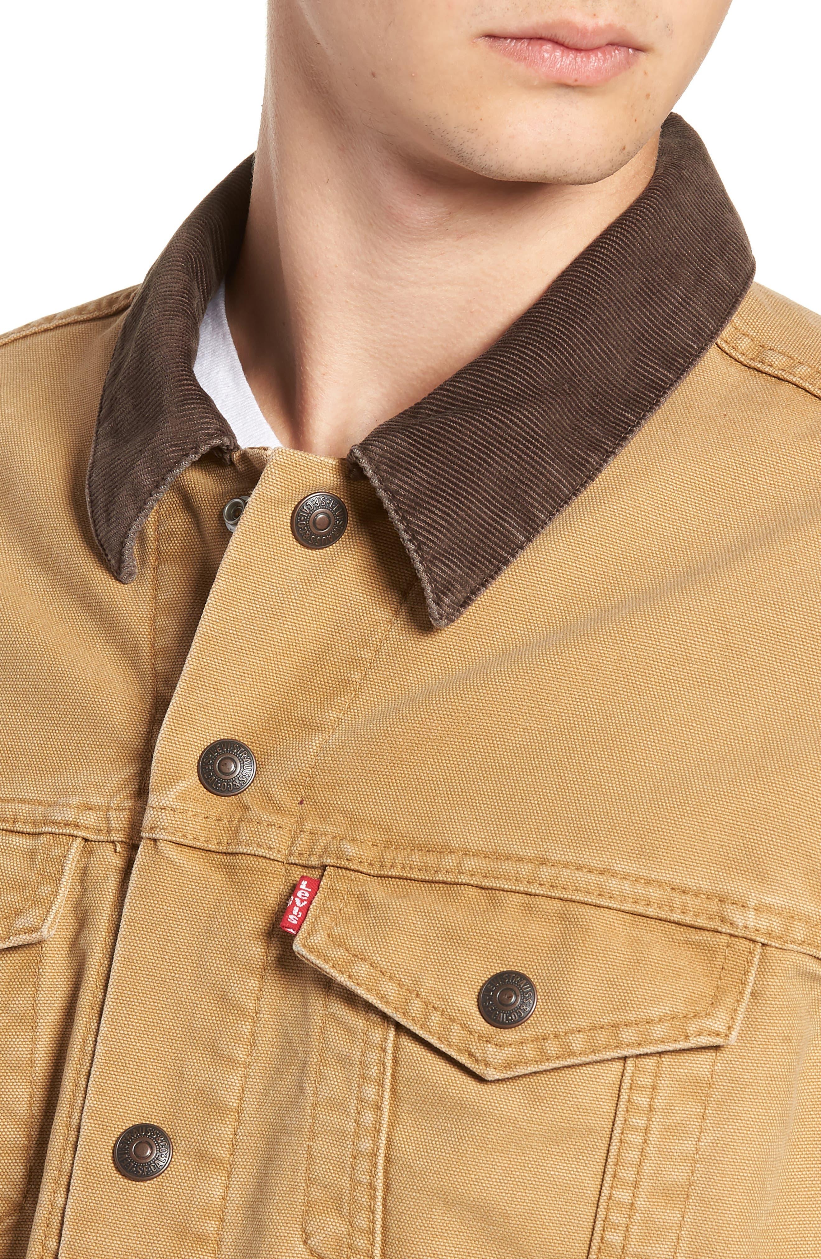 x Justin Timberlake Canvas Trucker Jacket,                             Alternate thumbnail 6, color,                             DIJON
