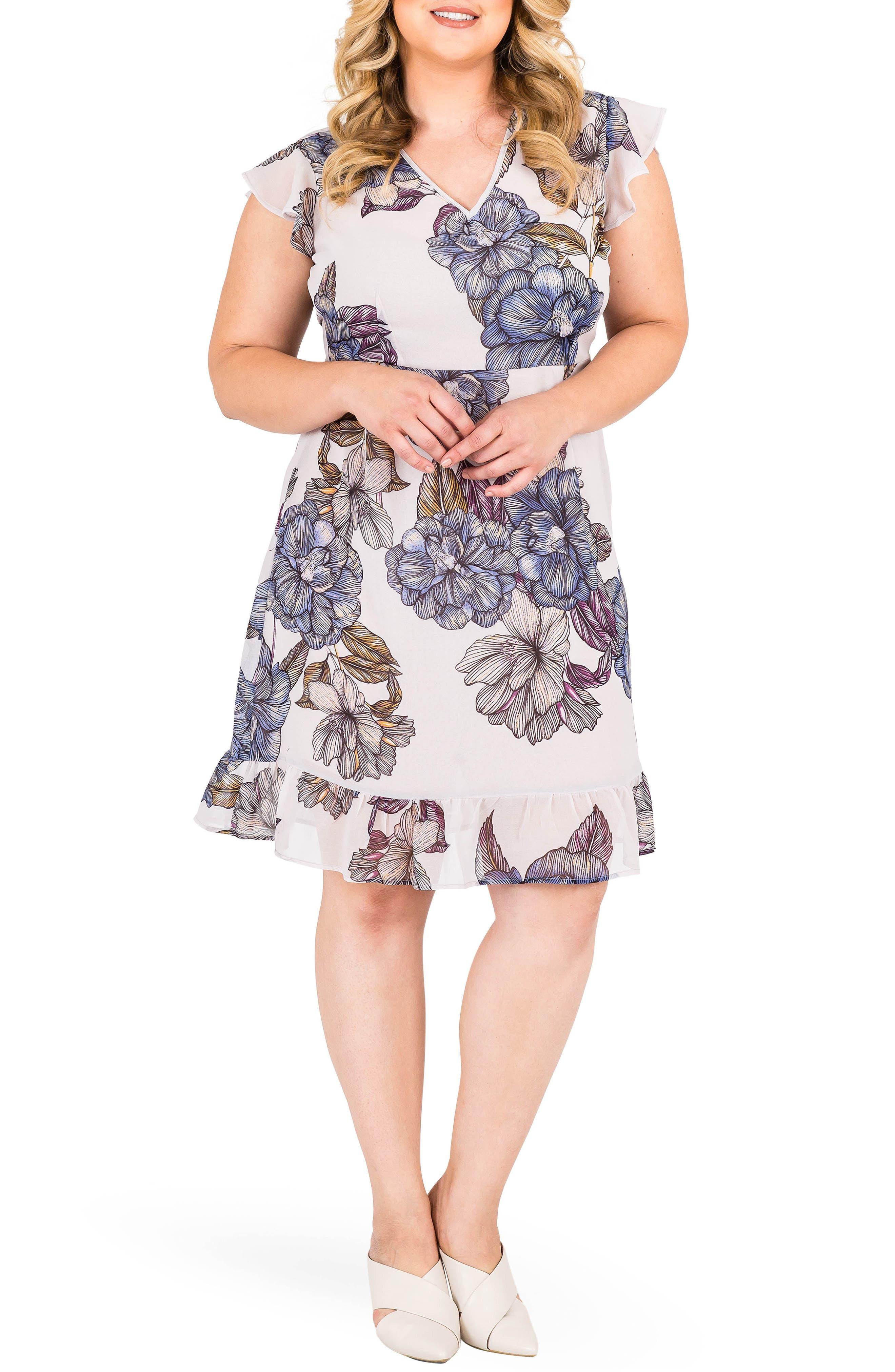 Dion Floral A-Line Dress,                             Main thumbnail 1, color,                             023