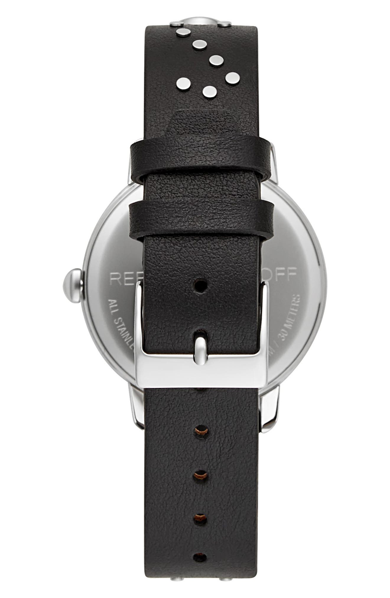 BFFL Studded Leather Strap Watch, 36mm,                             Alternate thumbnail 2, color,                             001
