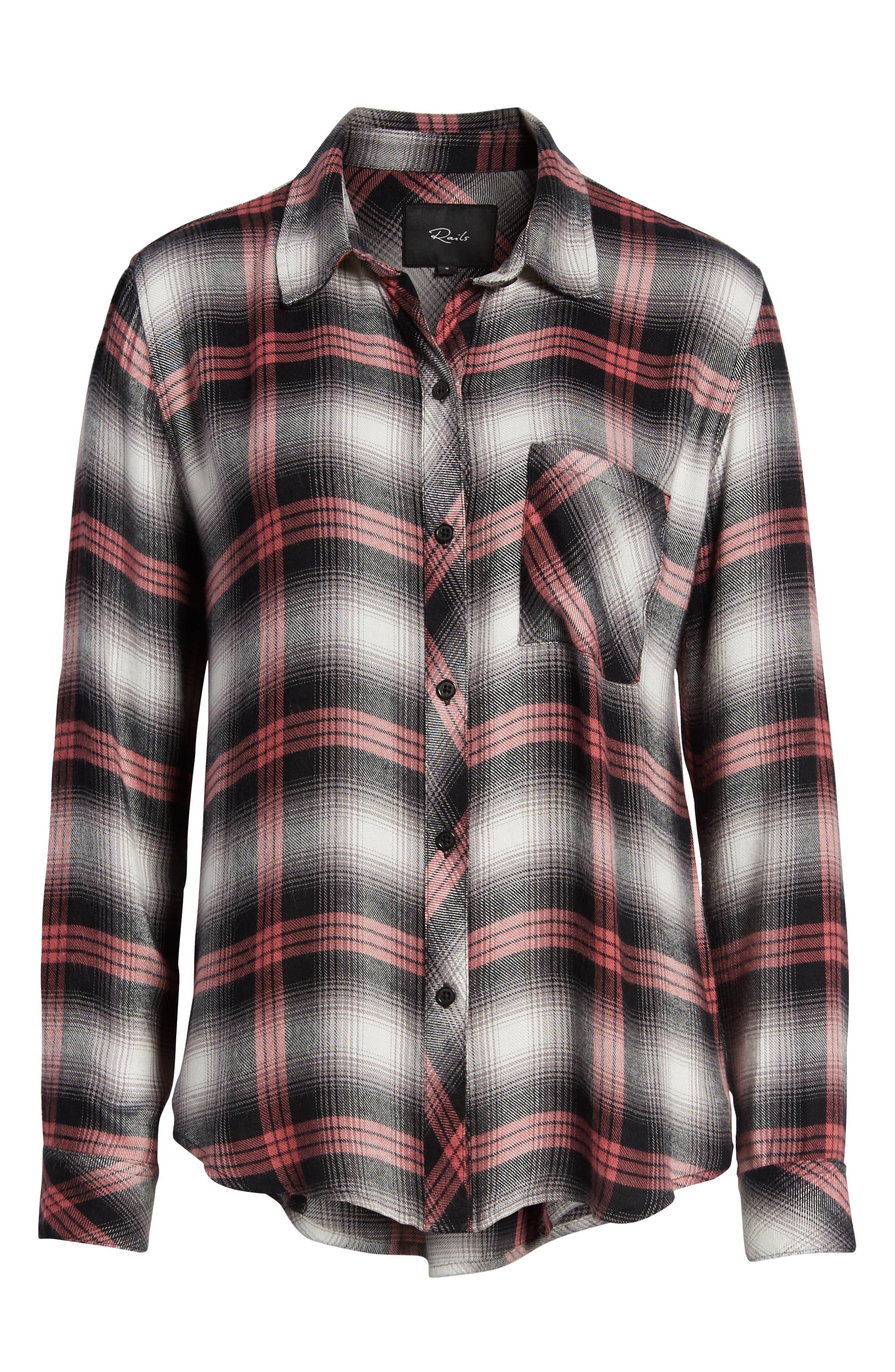 Hunter Plaid Shirt,                             Alternate thumbnail 8, color,                             BLACK TAFFY