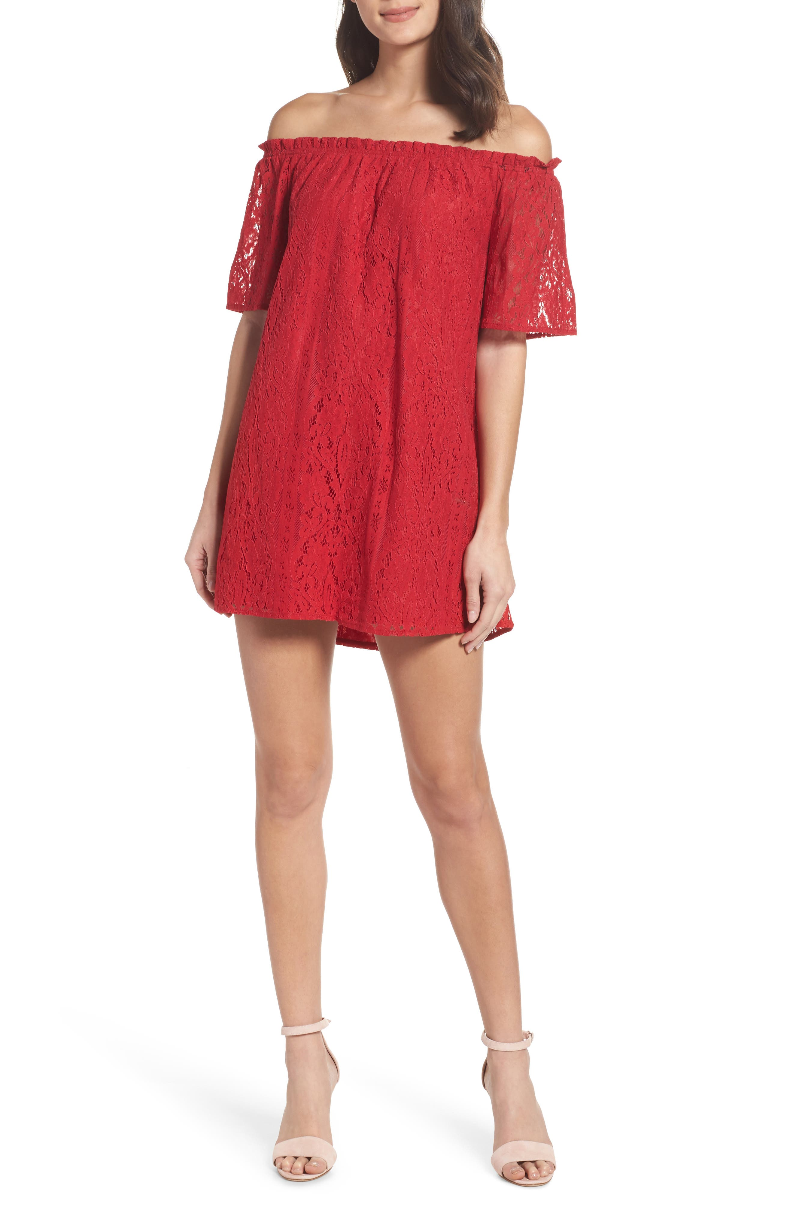 Erica Off the Shoulder Lace Shift Dress,                         Main,                         color, 600